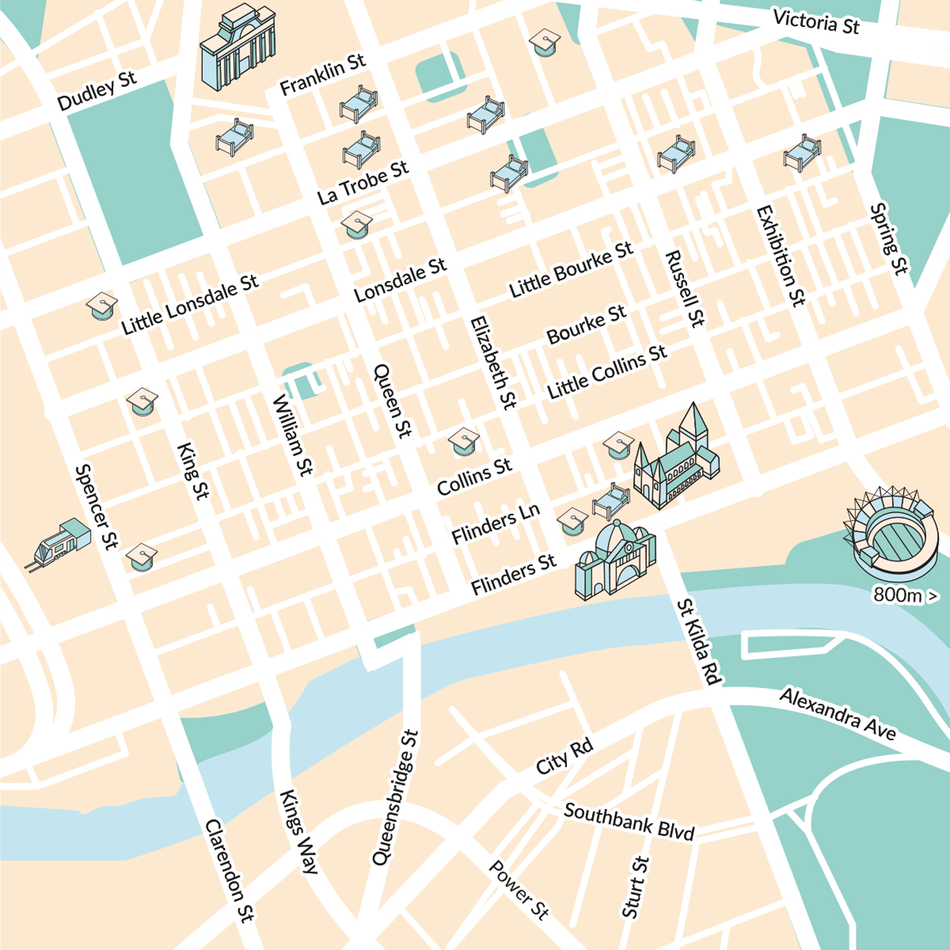 Melbourne illustrated map