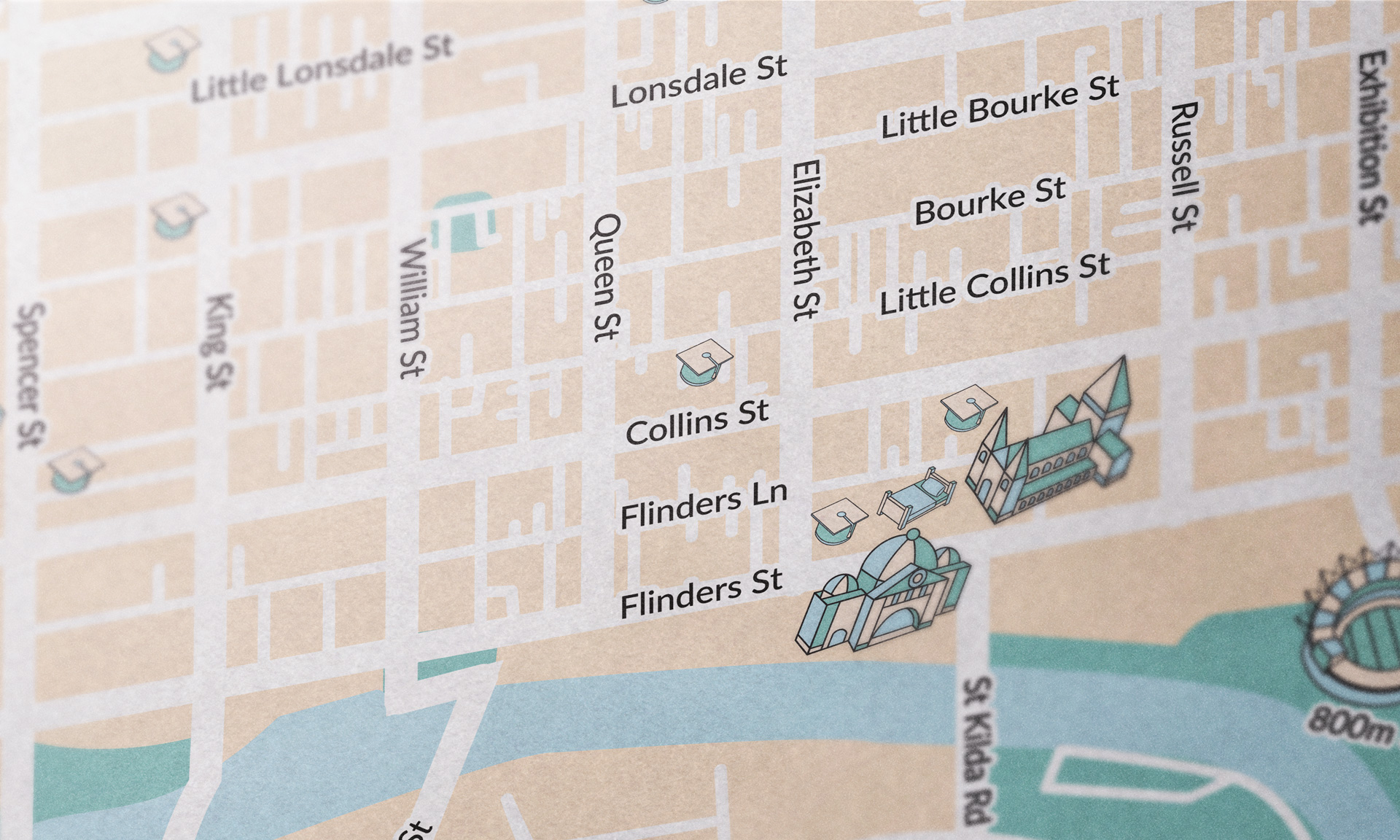 Melbourne map close-up
