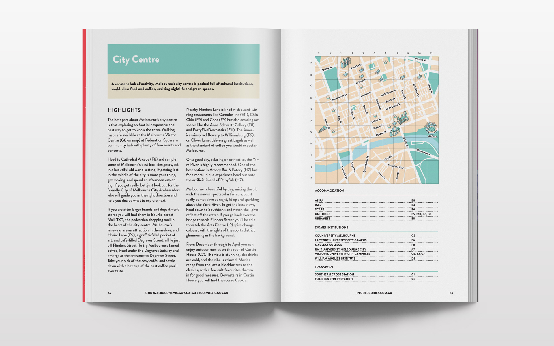 Melbourne city centre illustrated city map