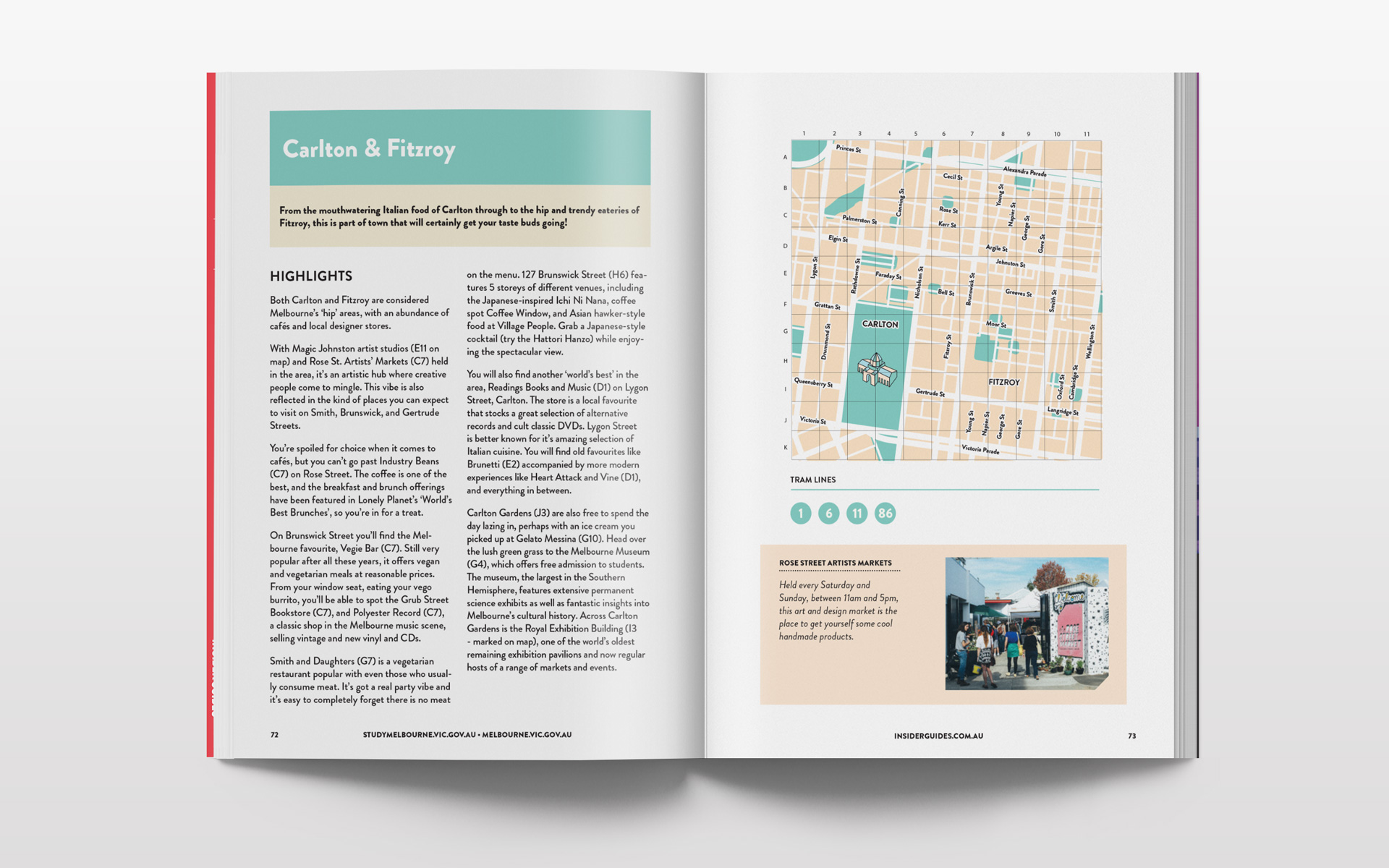 Carlton and Fitzroy in Melbourne illustrated city map