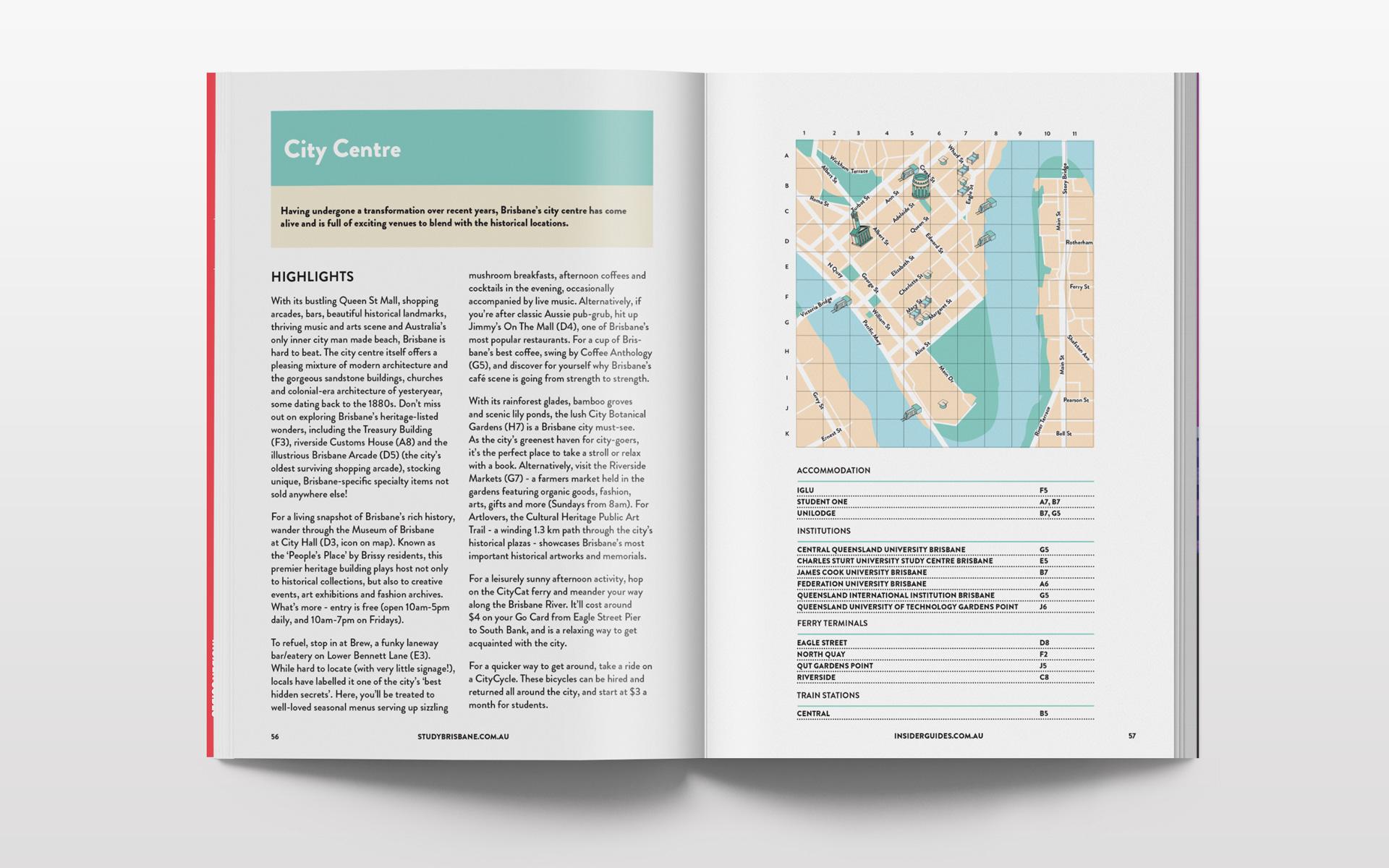 Brisbane city centre illustrated city map