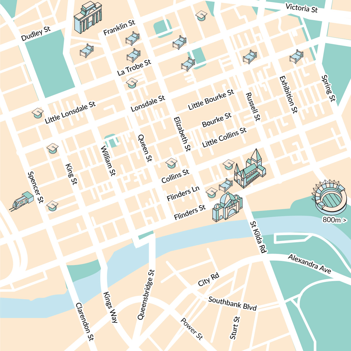 Australian cities illustrated maps preview