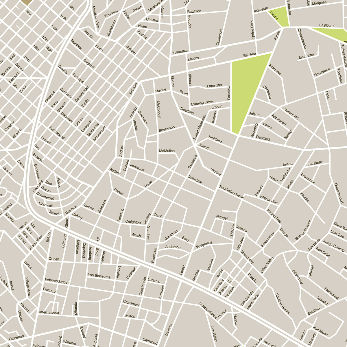 Fictional city street map preview