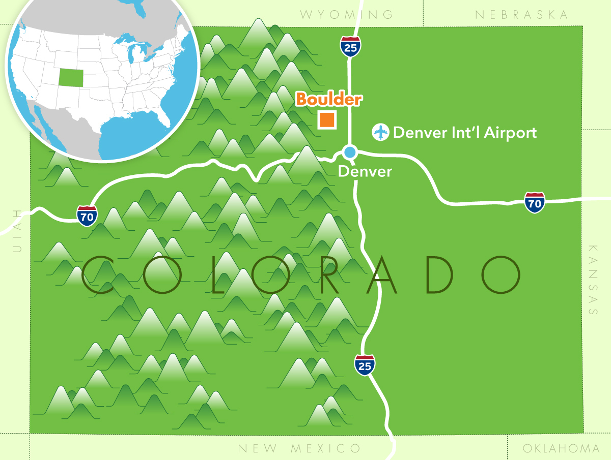 Coulder, CO illustrated situation map