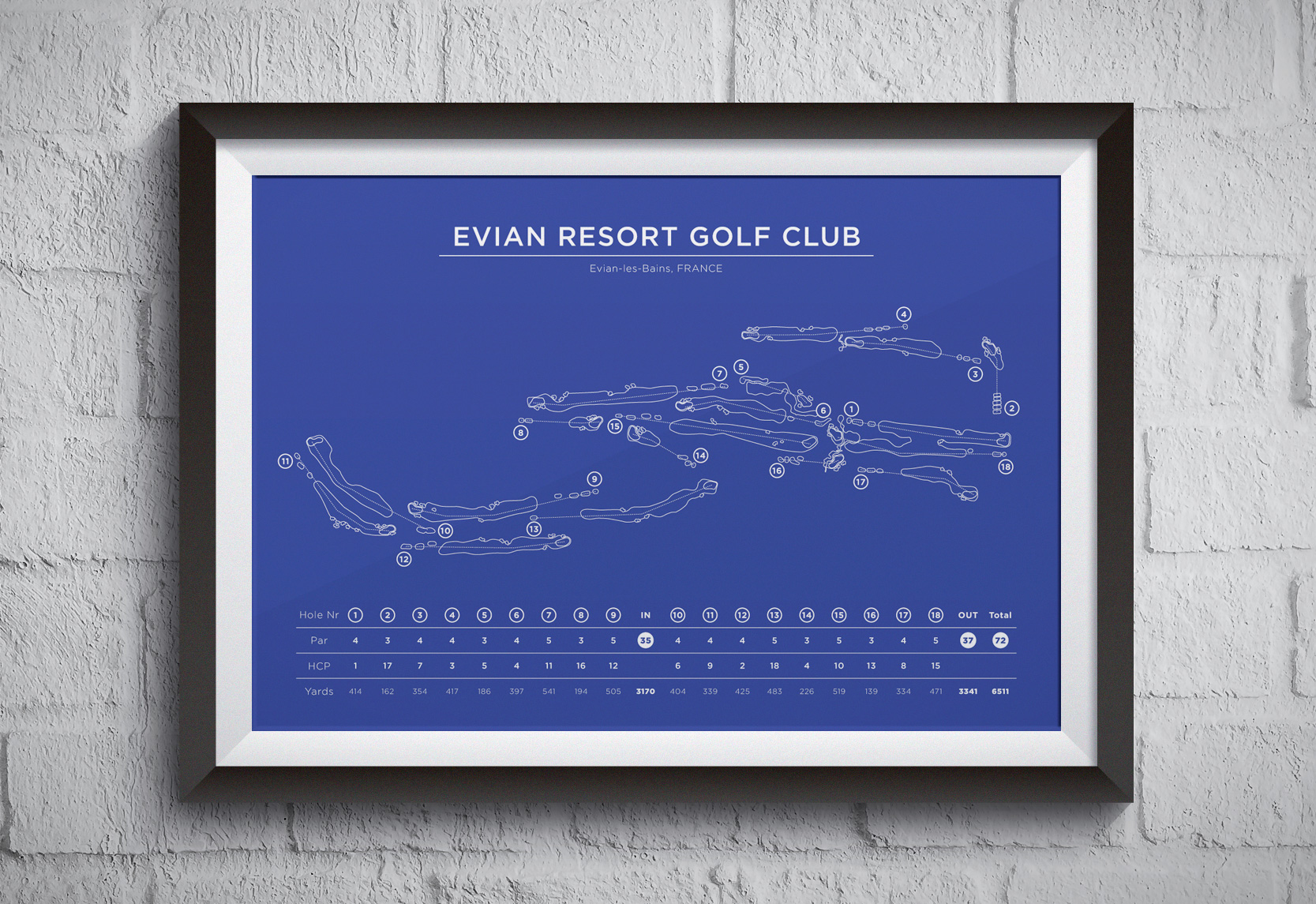 Evian Resort golf course map as a blueprint