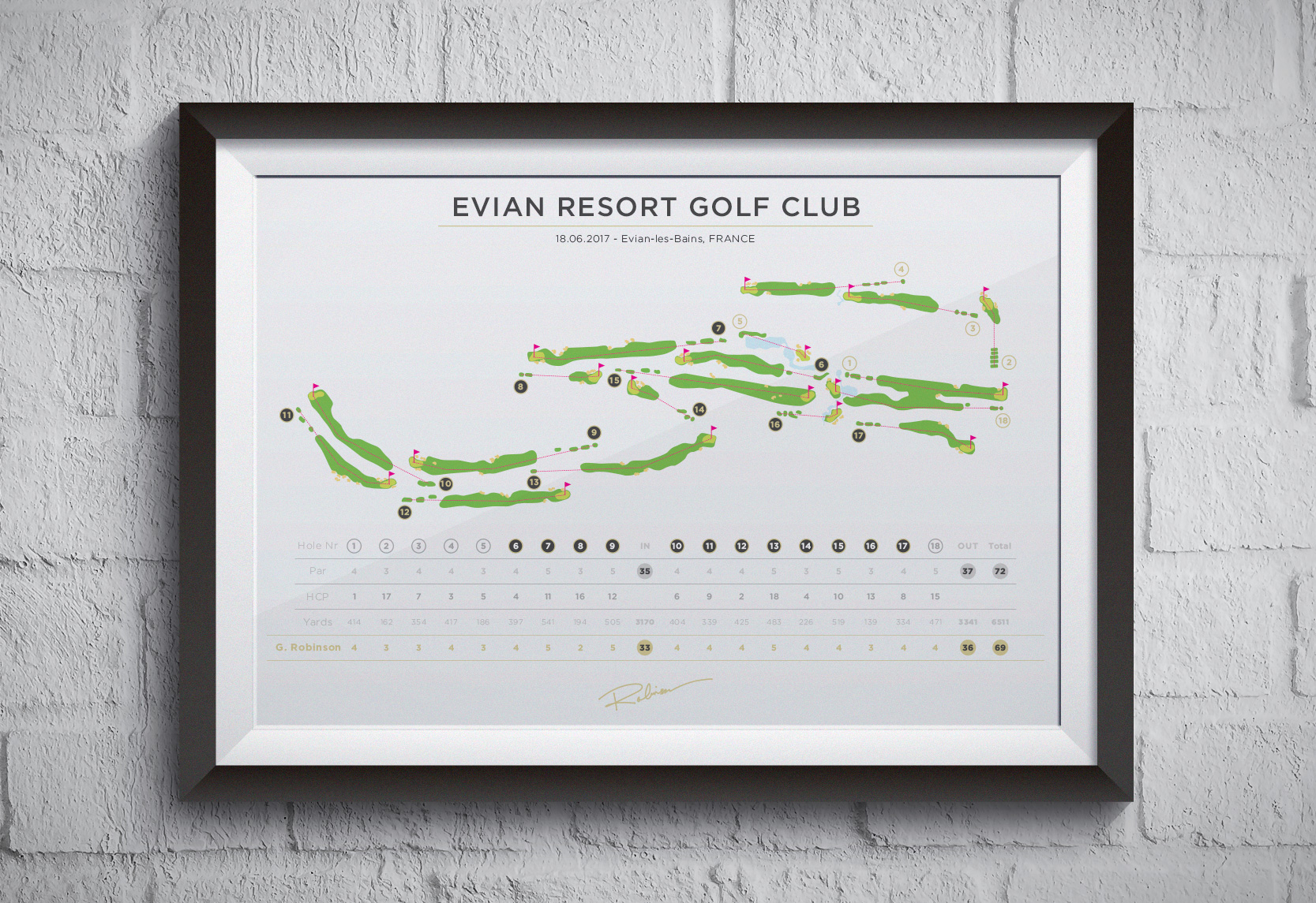 Thirds version of the Evian Resort golf course map