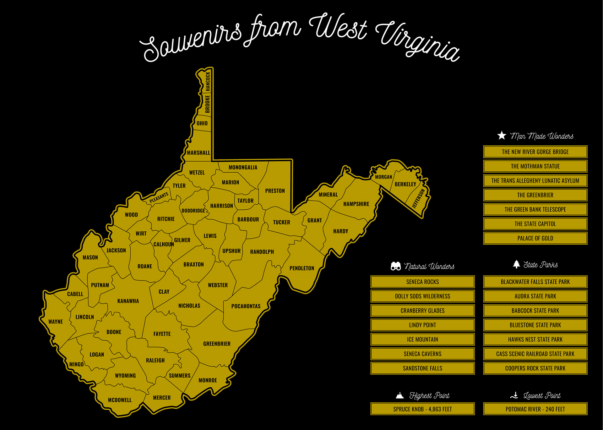 West Virginia map before being revealed