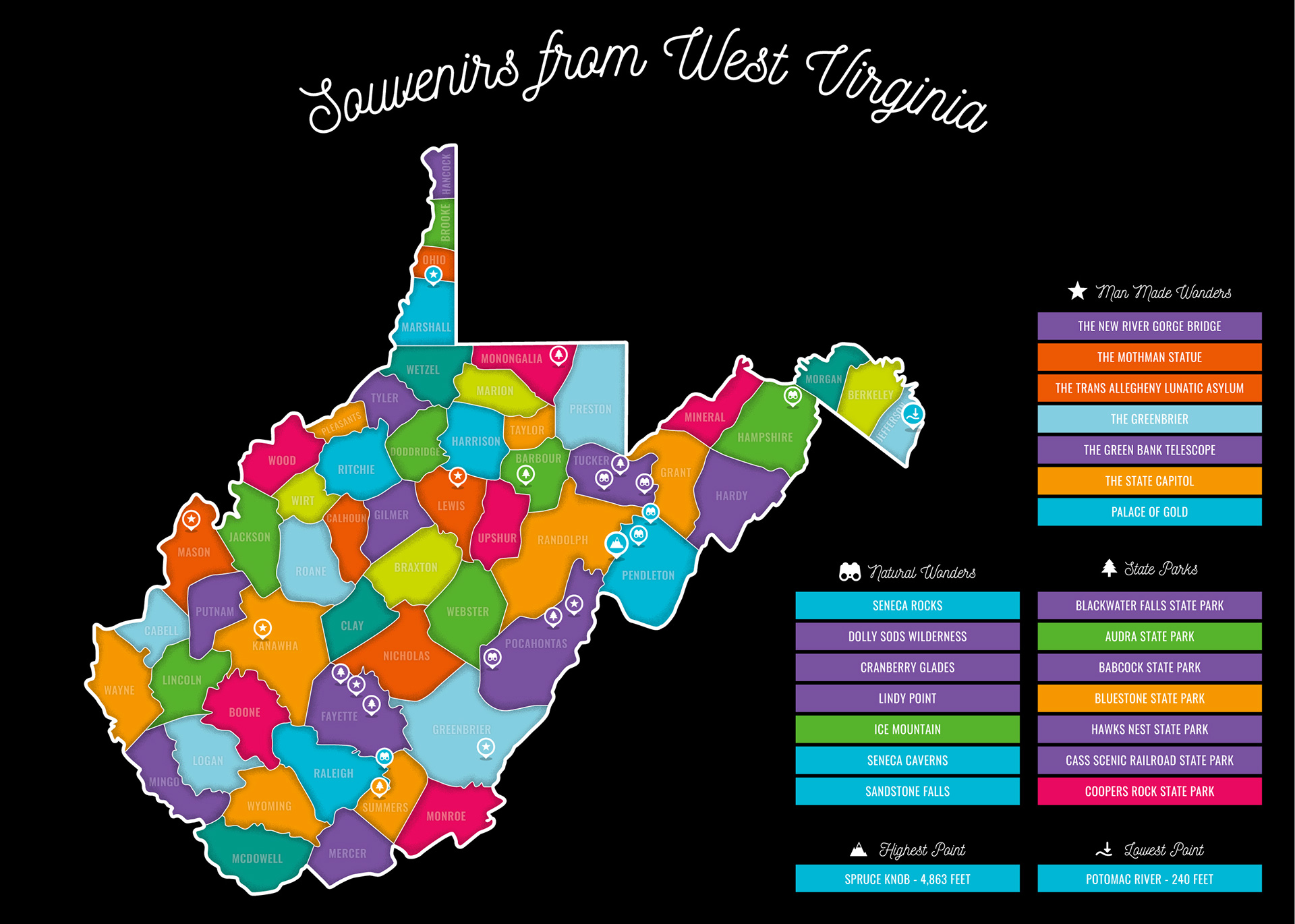 West Virginia map after being revealed