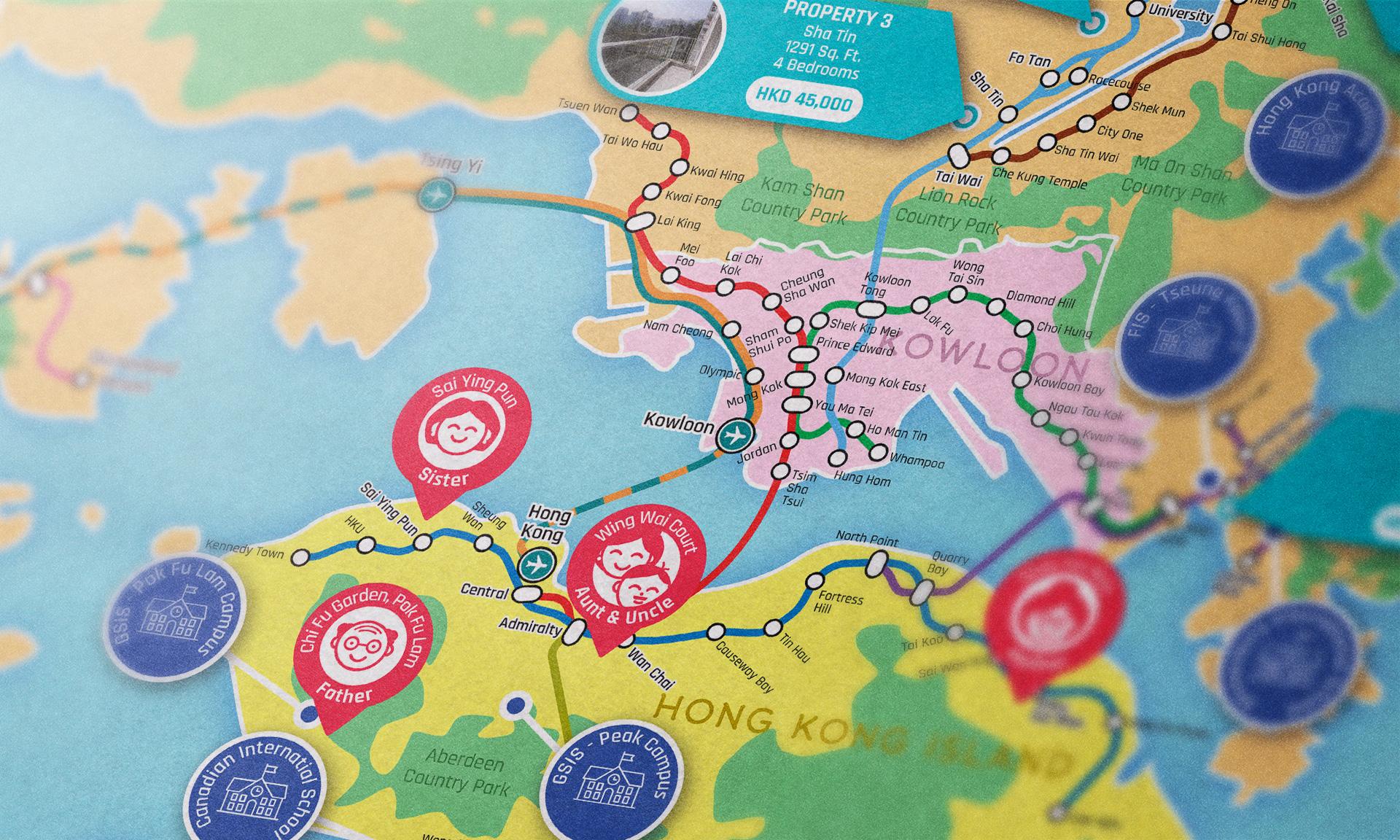 Honk Kong map close-up