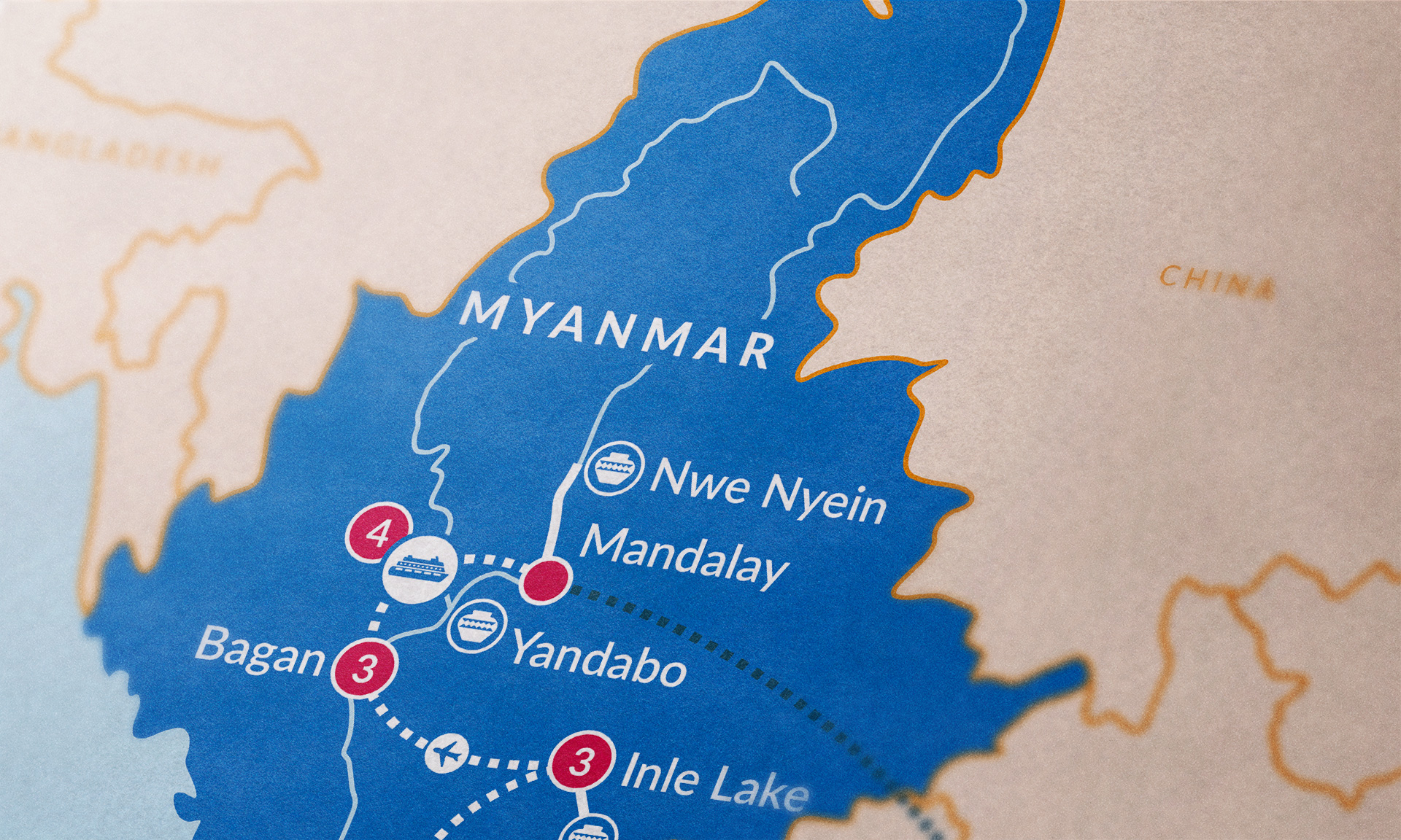 Myanmar map close-up