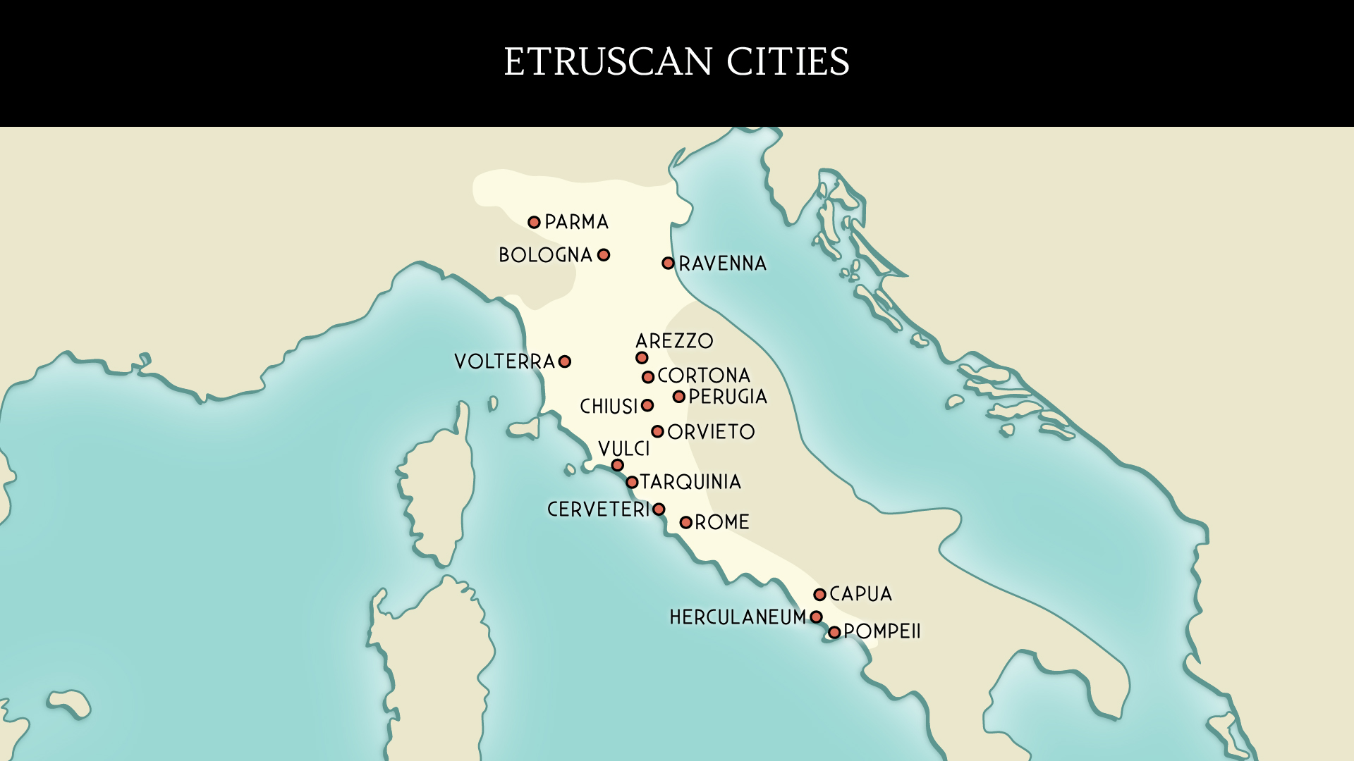 Map of the Etruscans cities