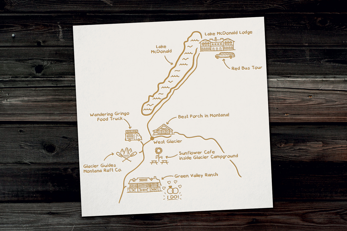 West Glacier illustrated map for a wedding