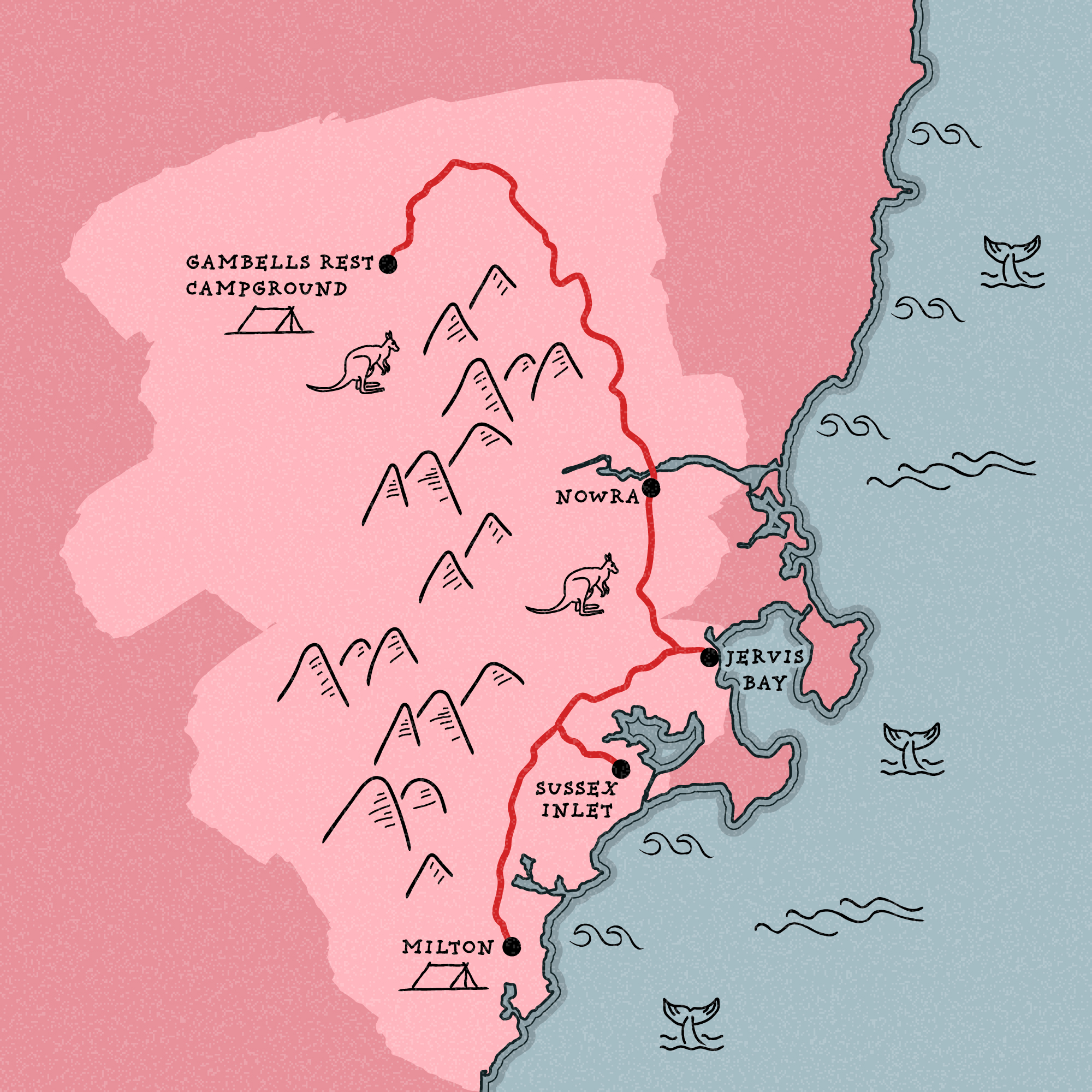 Shoalhaven illustrated itinerary map