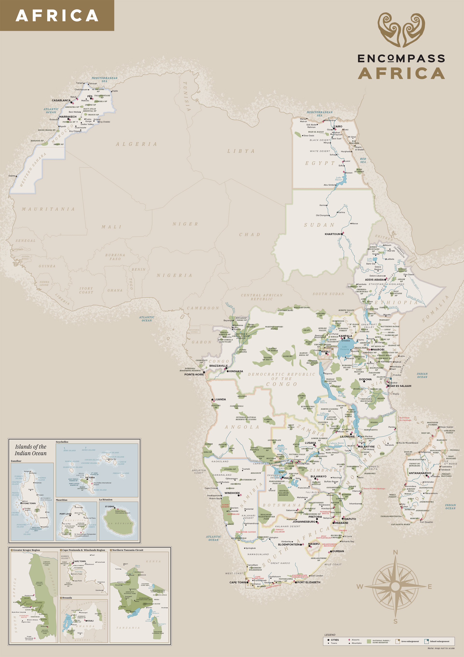 Encompass Africa map of the continent