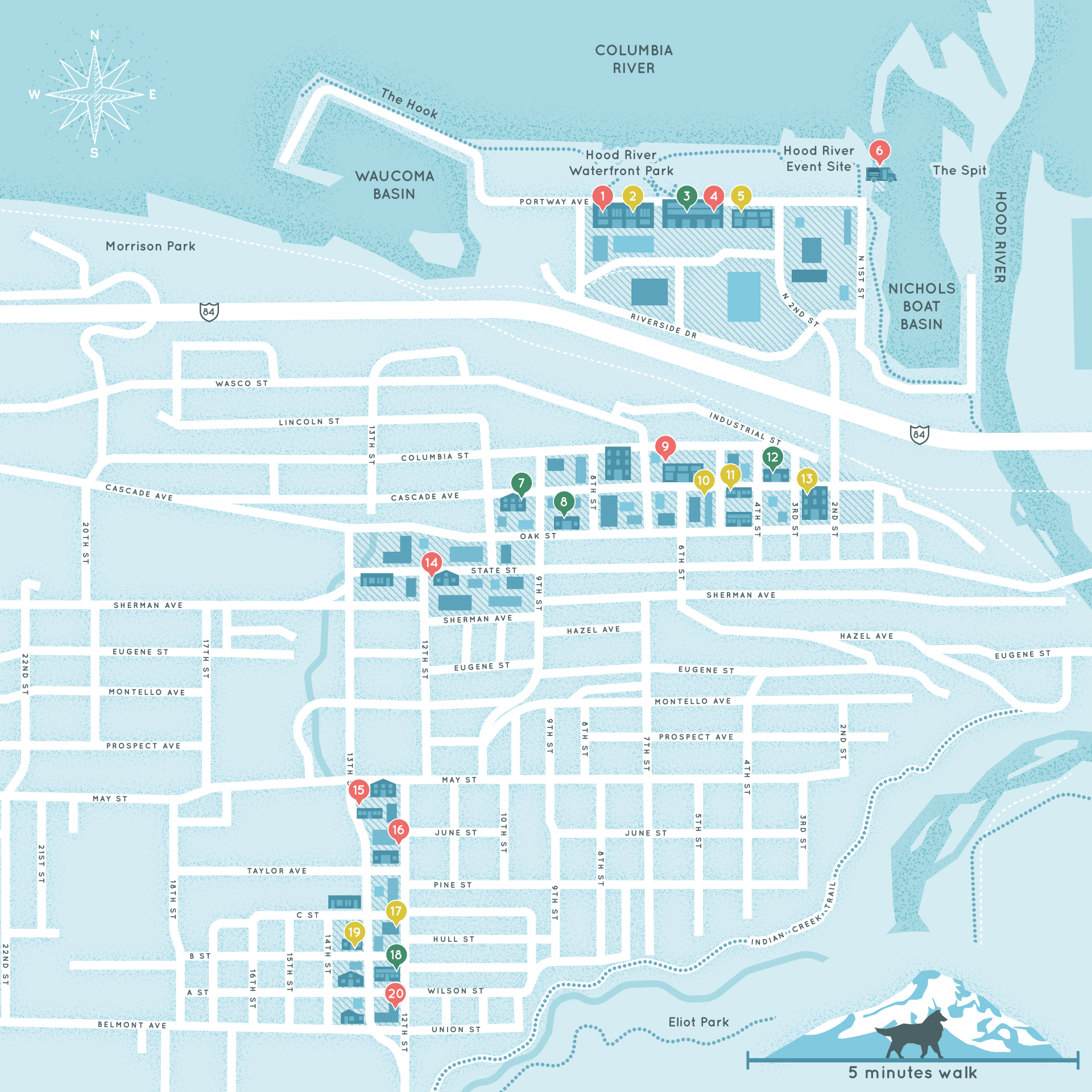 Map of Hood River highlighting points of interest