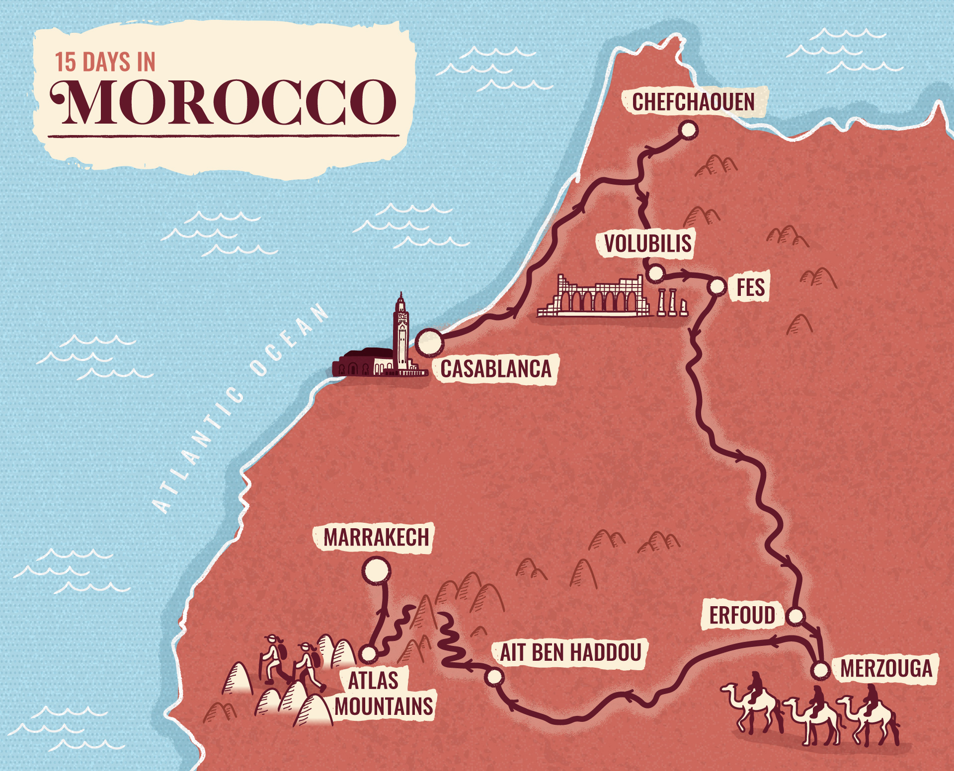 Morocco illustrated map