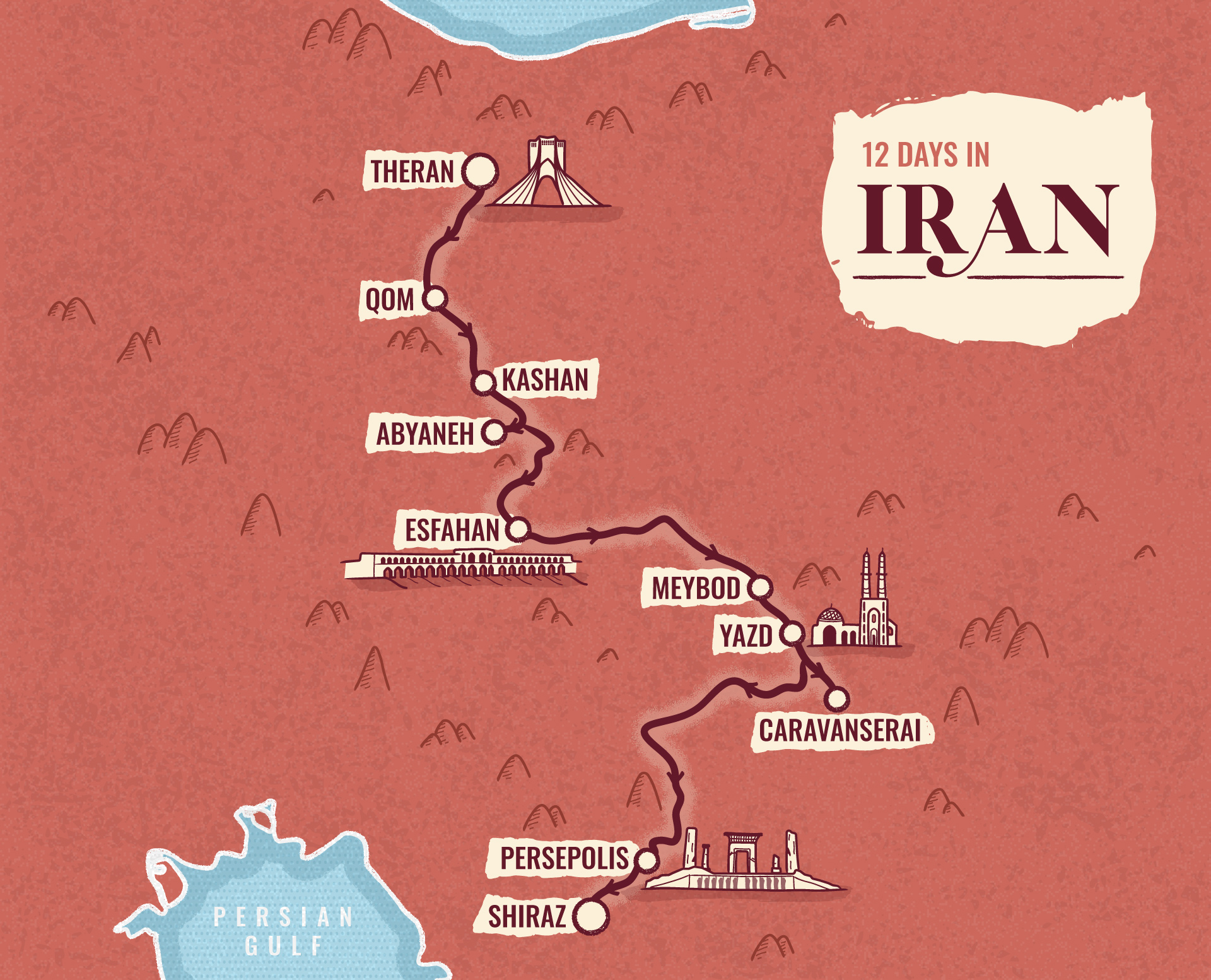 Iran illustrated map