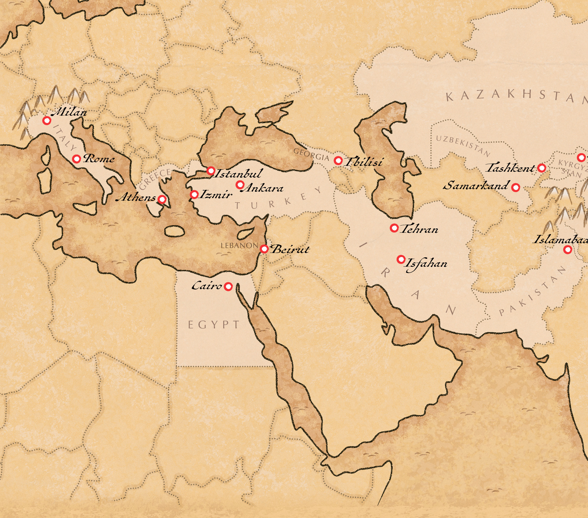 Europe and Middle East part of the Silk Road