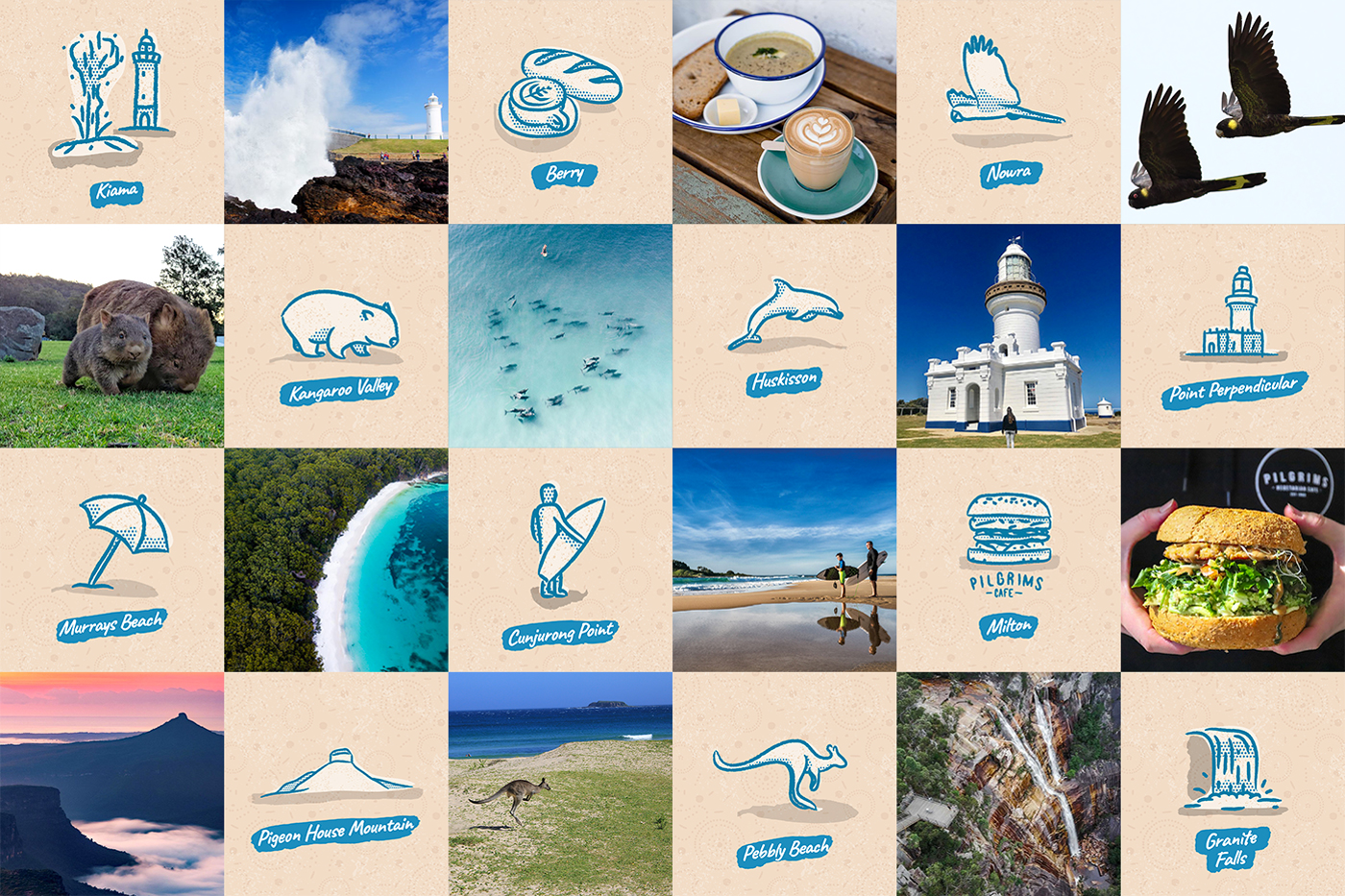 Illustrations of Shoalhaven points of interest