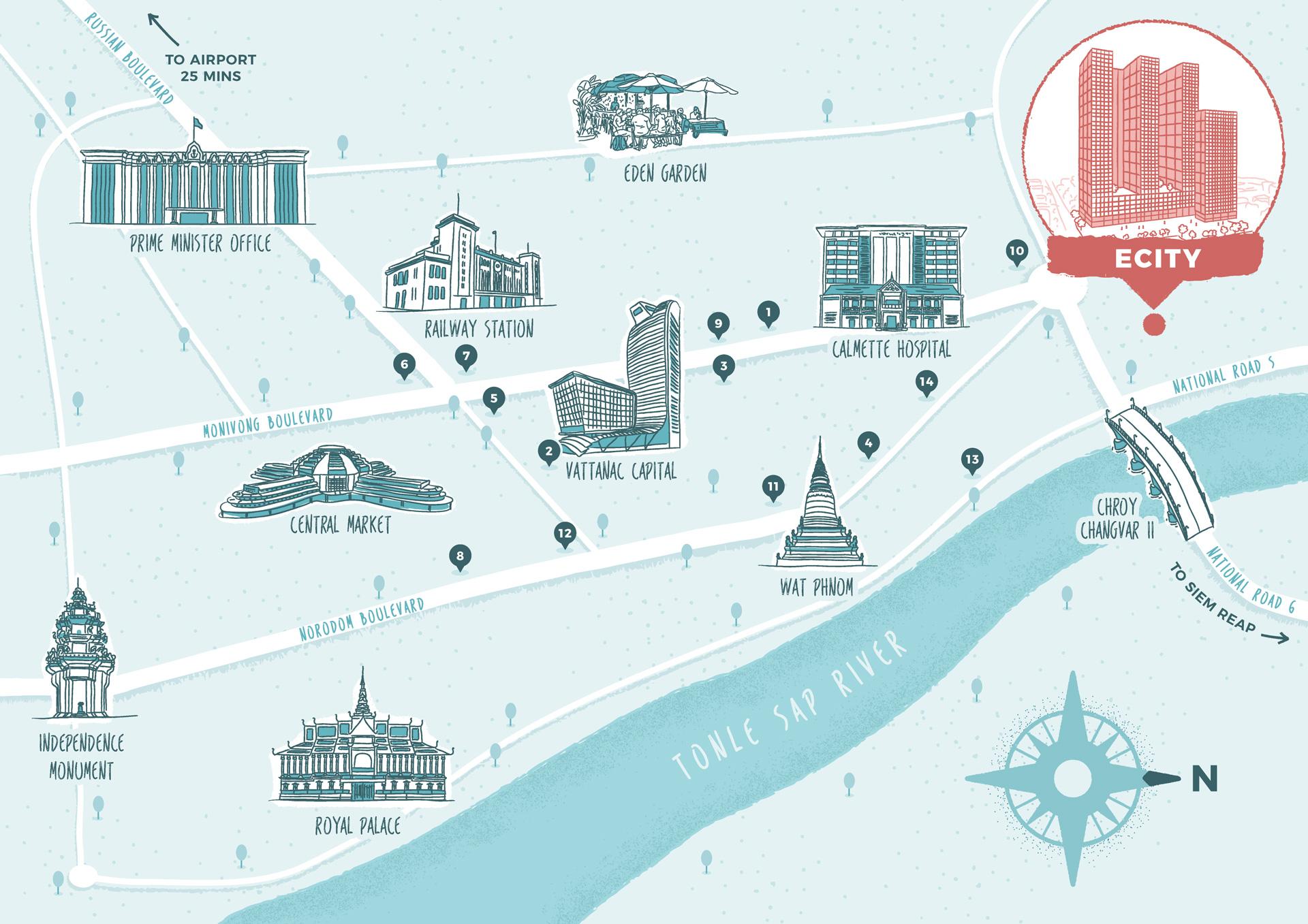 Phnom Penh city illustrated map
