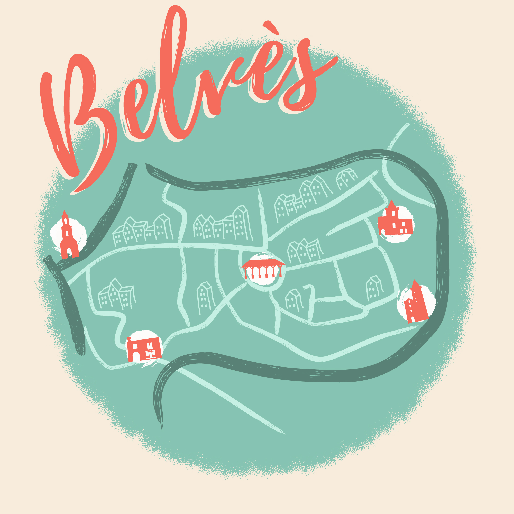 Illustrated city map of Belvès