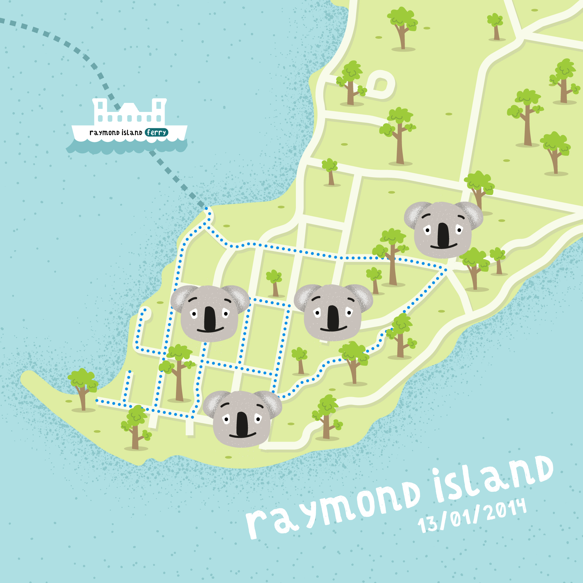 Raymond Island illustrated map