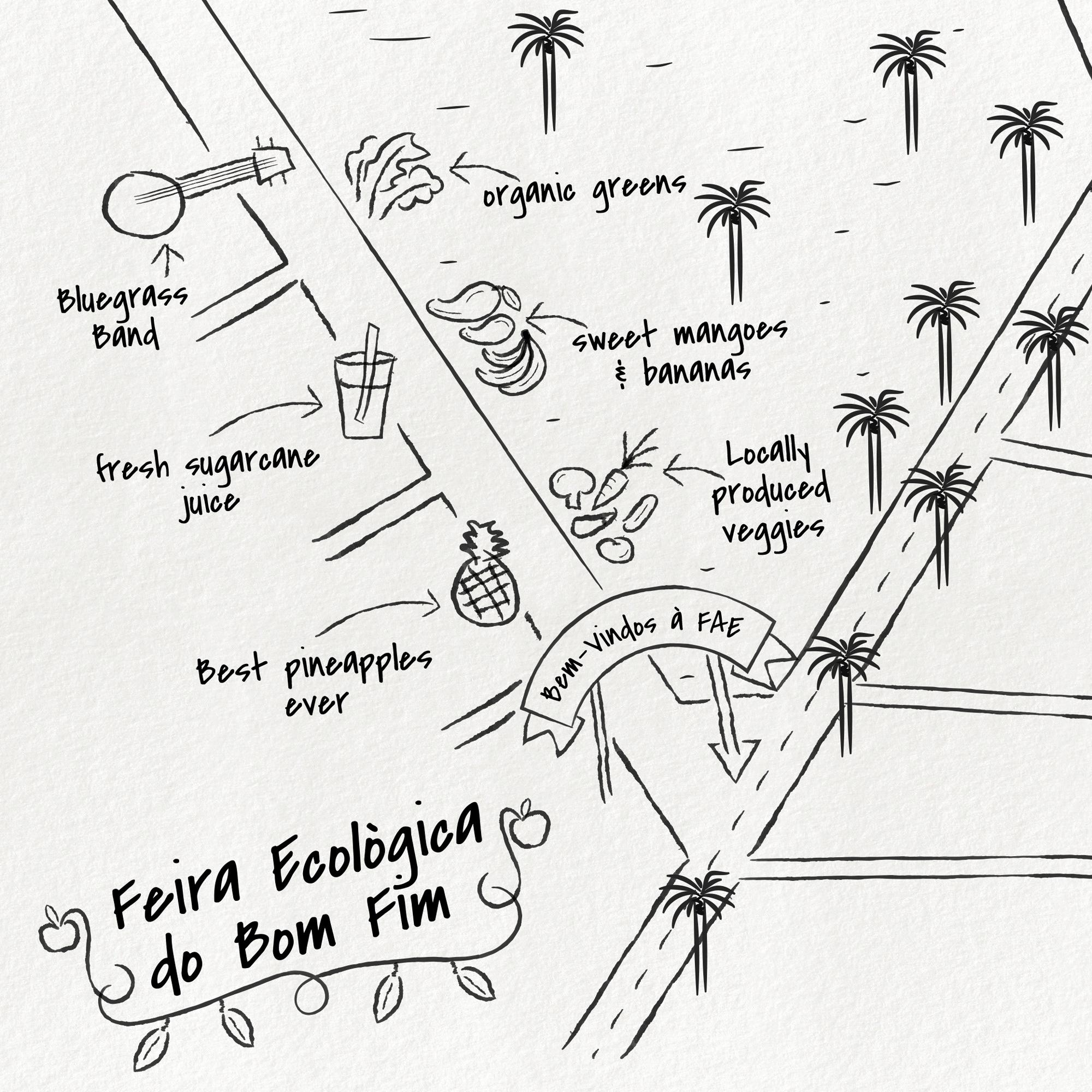 Illustrated map of Feira Ecologica de Bom Fim in Porto Alegre