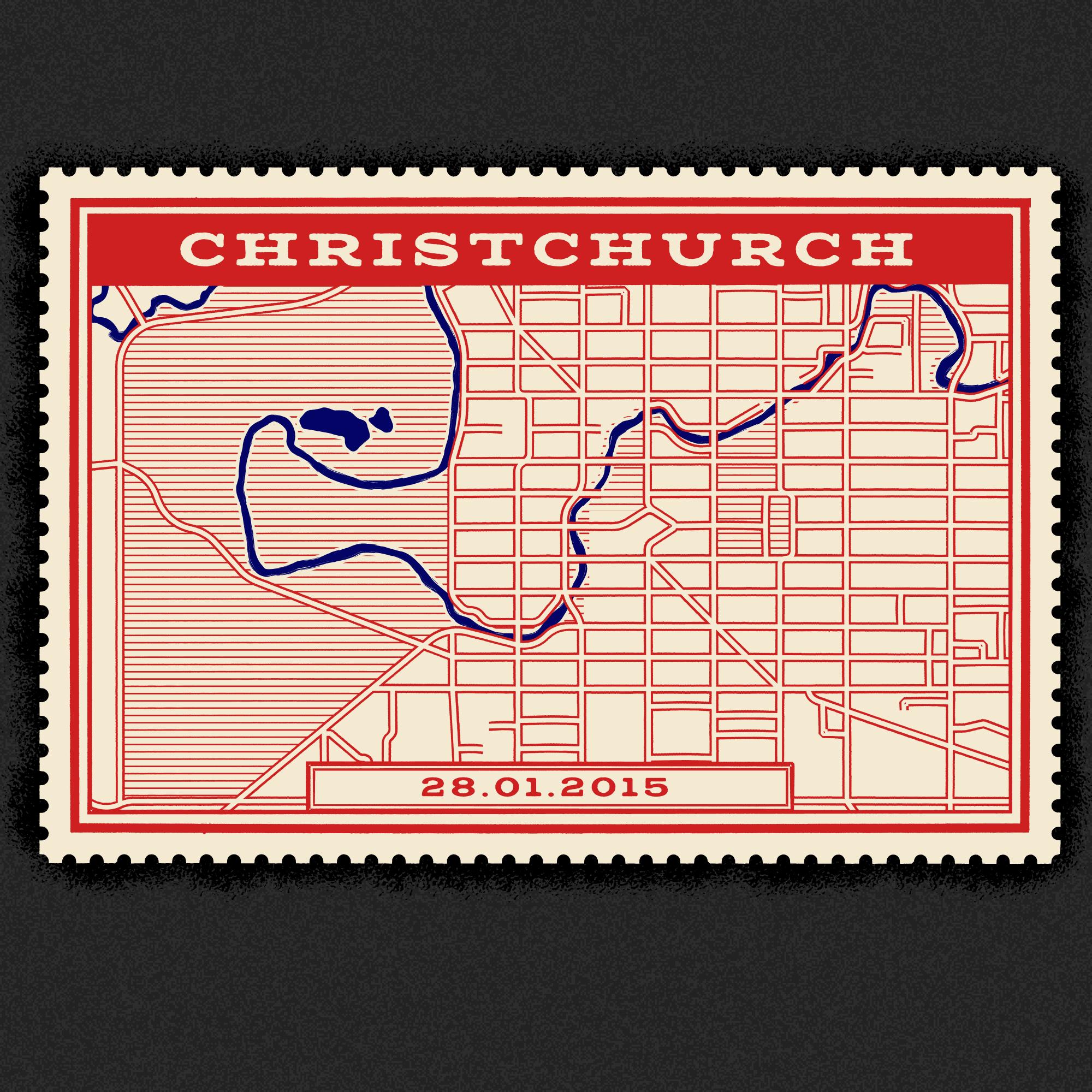 Vintage Christchurch map stamp