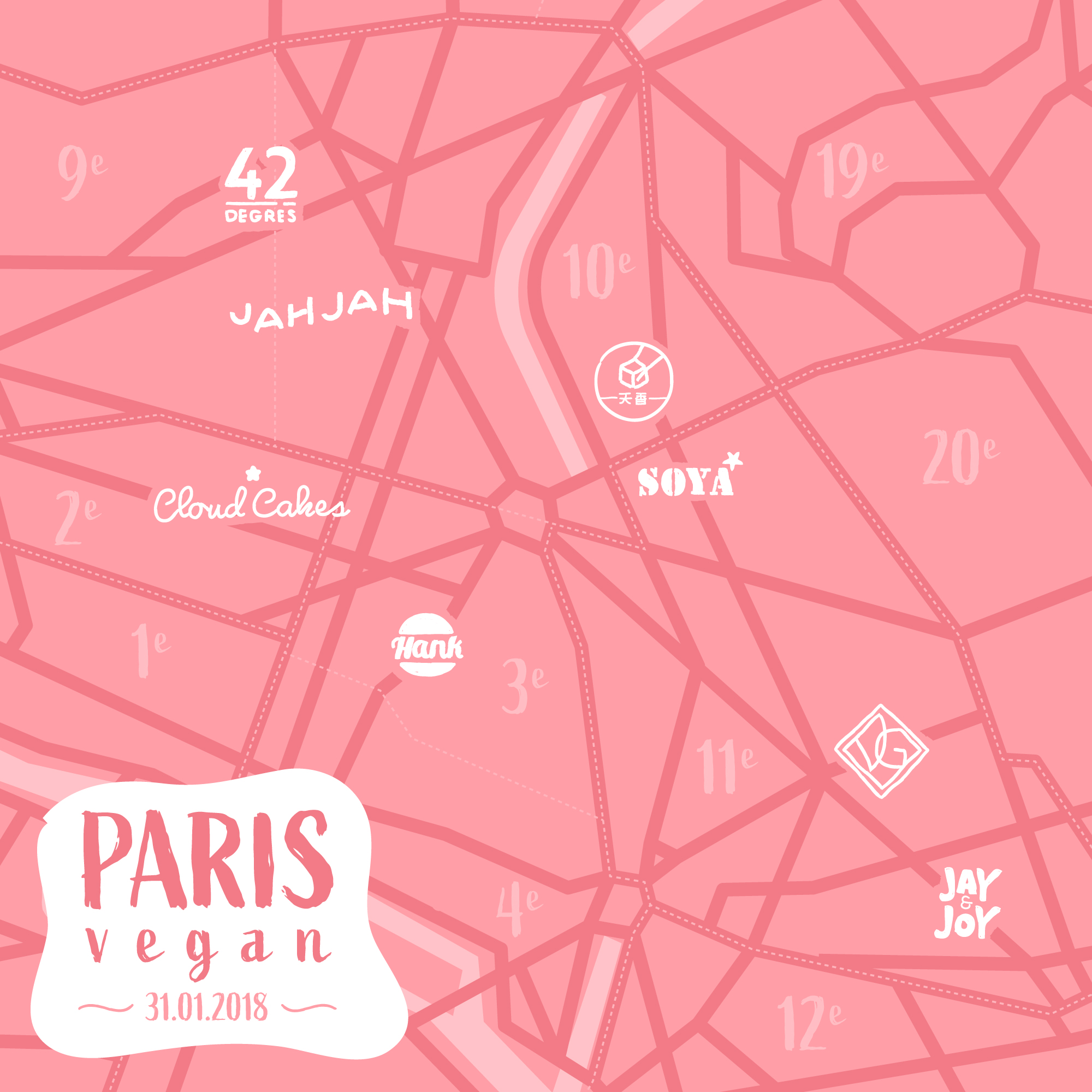 Illustrated street map of Vegan restaurants in Paris