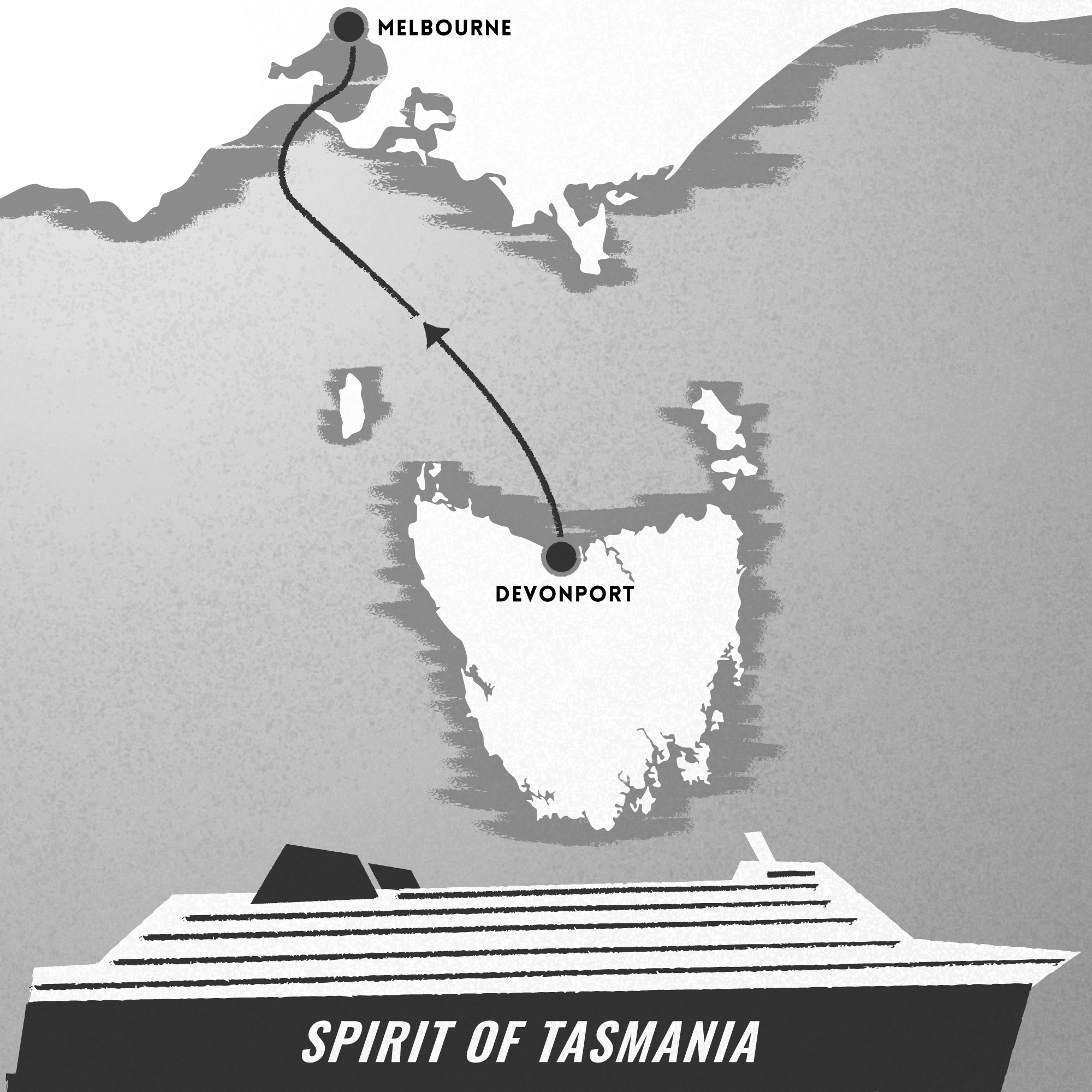 Spirit of Tasmania vintage inspired poster