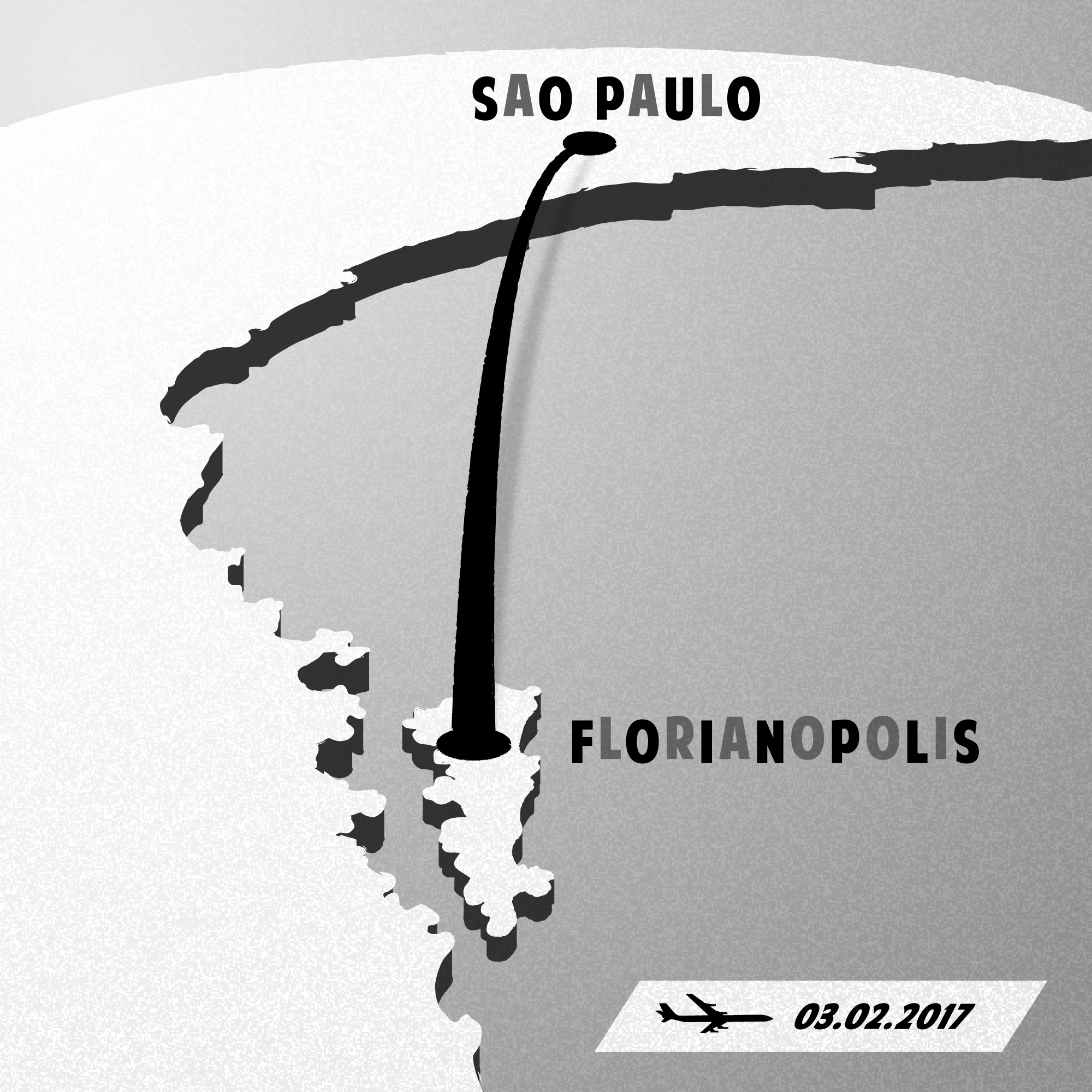 Florianopolis to Sao Paulo vintage inspired poster