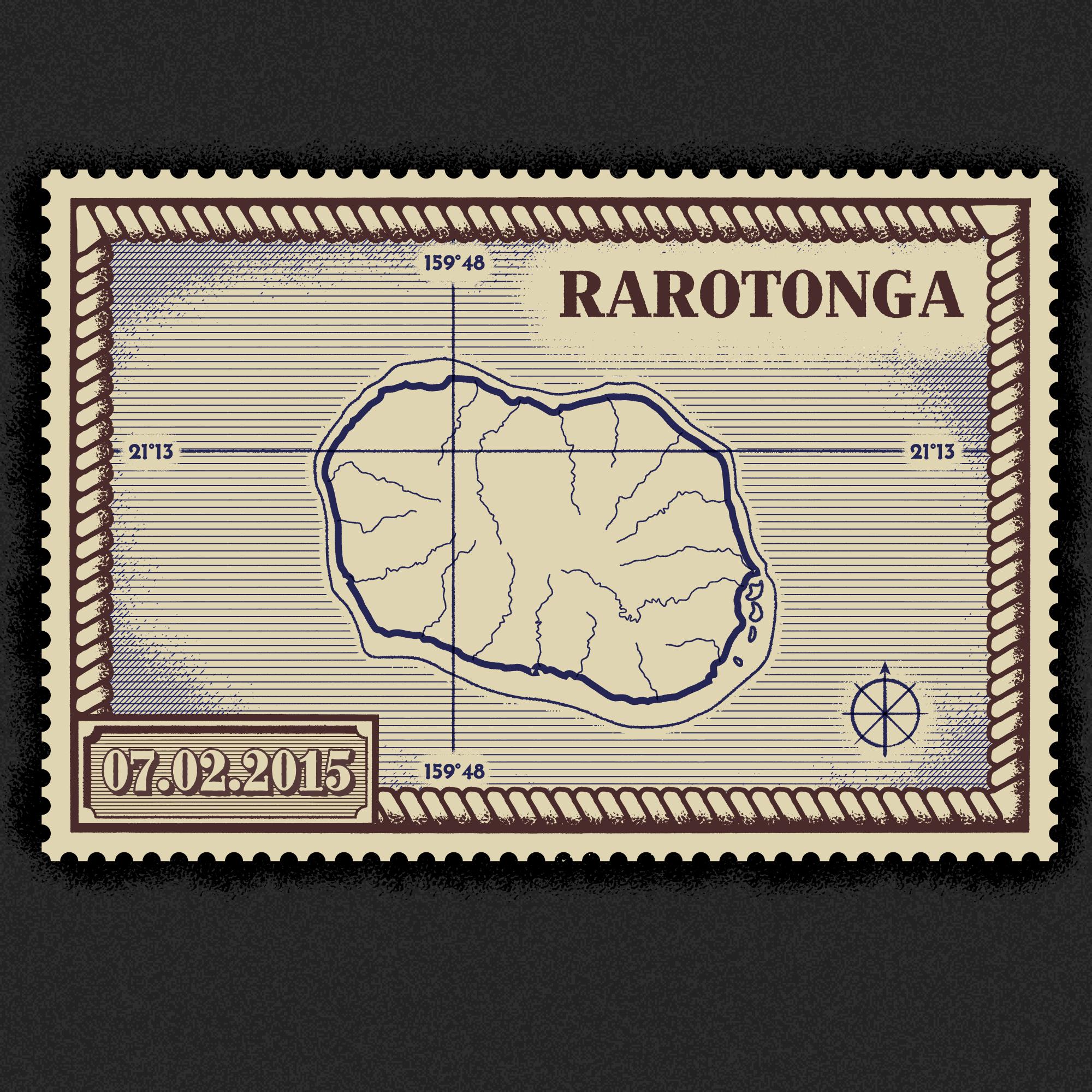 Vintage Rarotonga map stamp