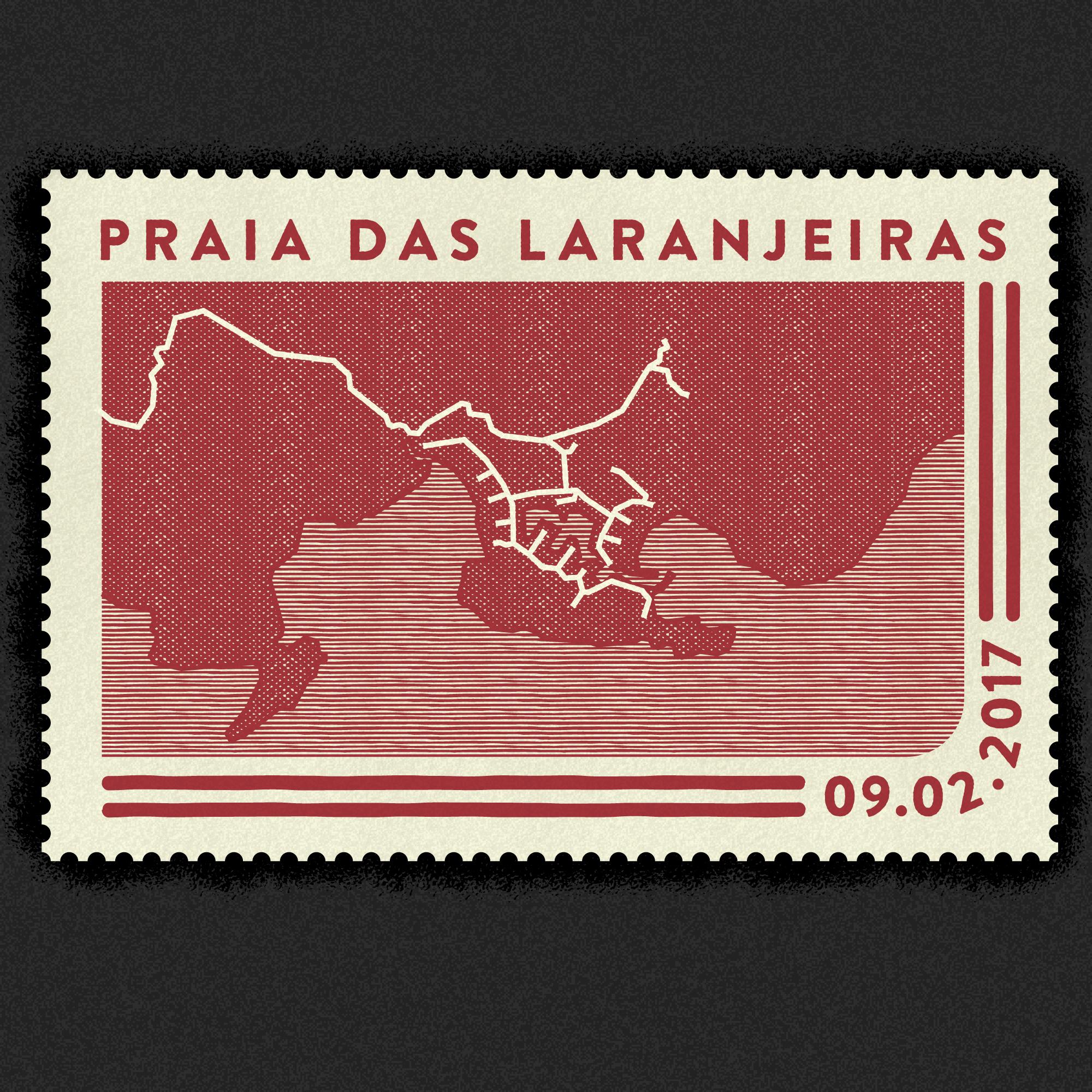 Praia das Laranjeiras vintage map stamp