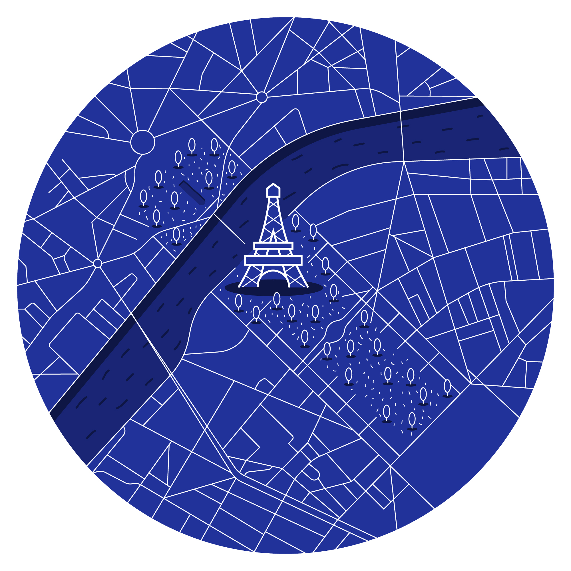 Eiffel Tower line art map