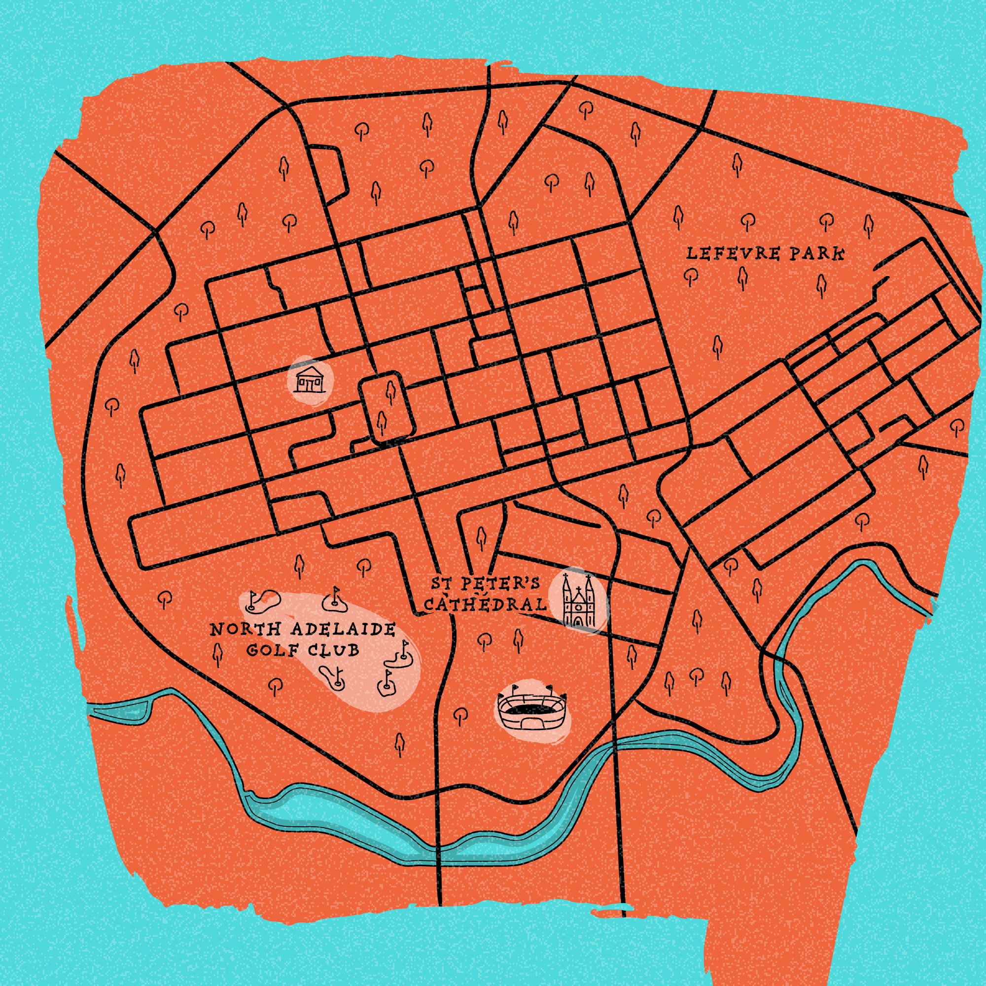 Illustrated city map of North Adelaide