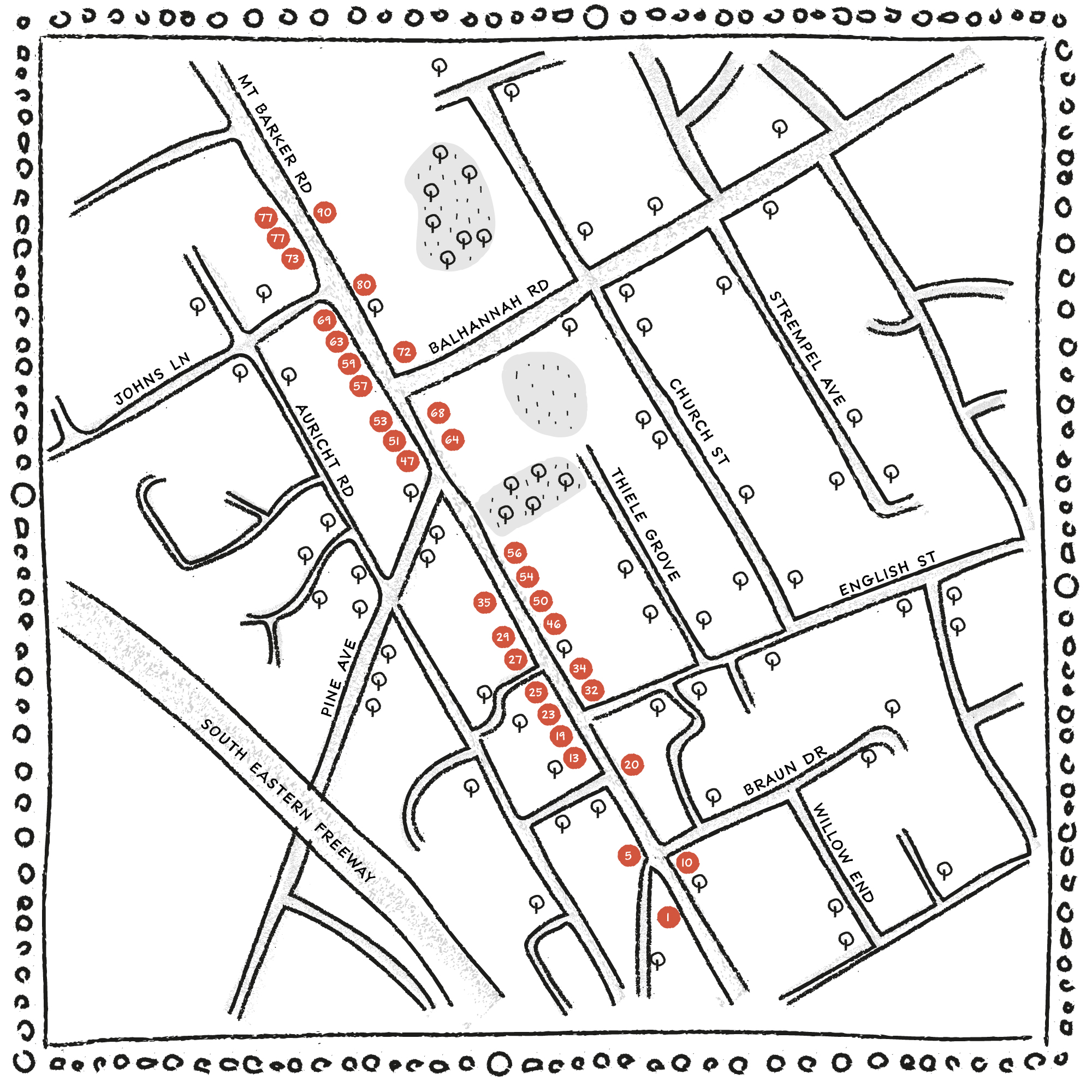 Illustrated street map of Hahndorf