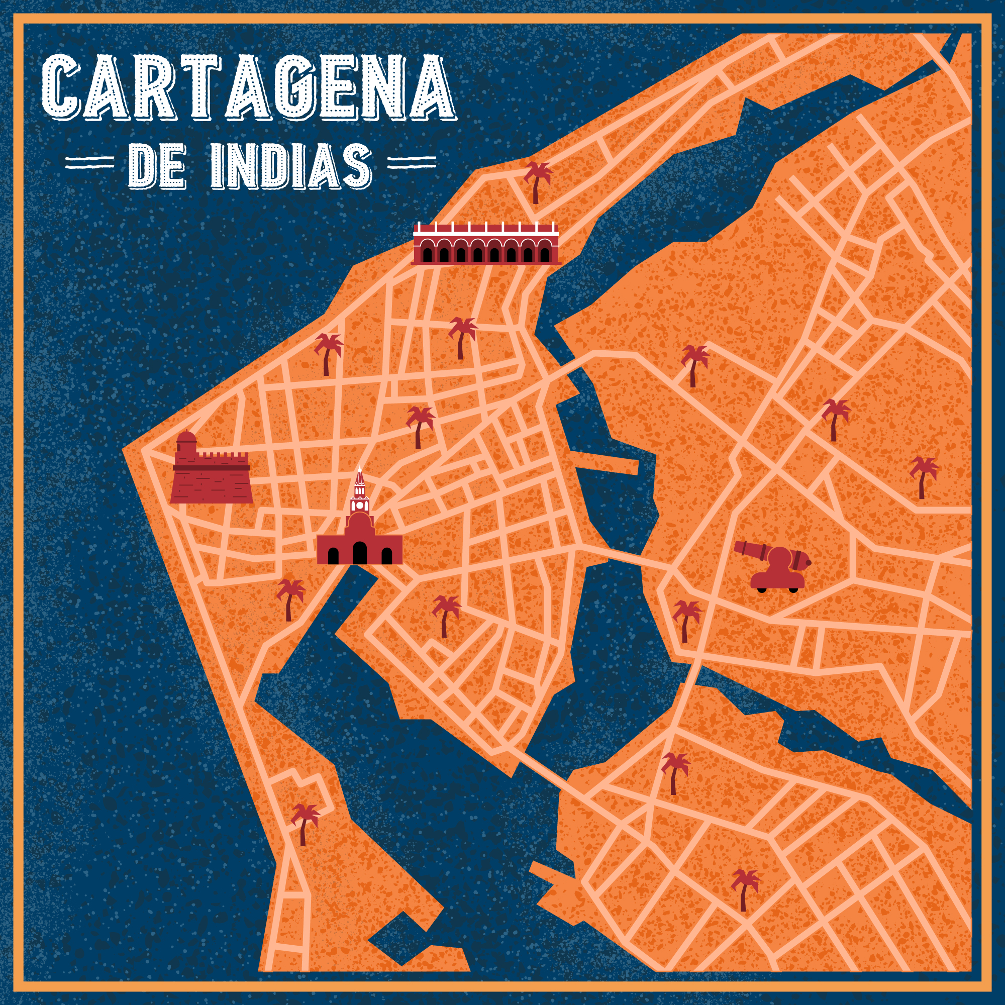 Illustrated city map of Cartagena de Indias