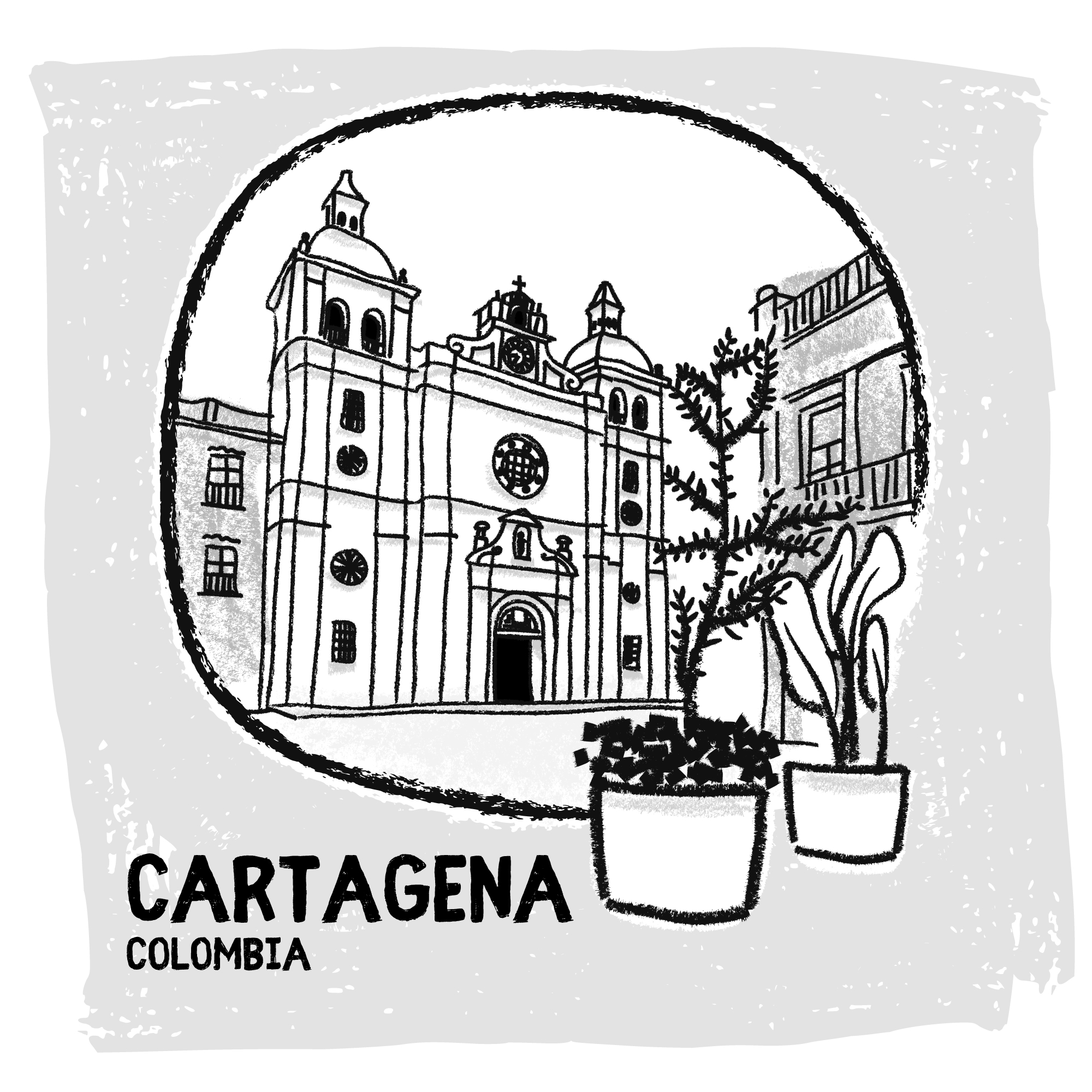 Caratagena, Colombia digital travel sketch