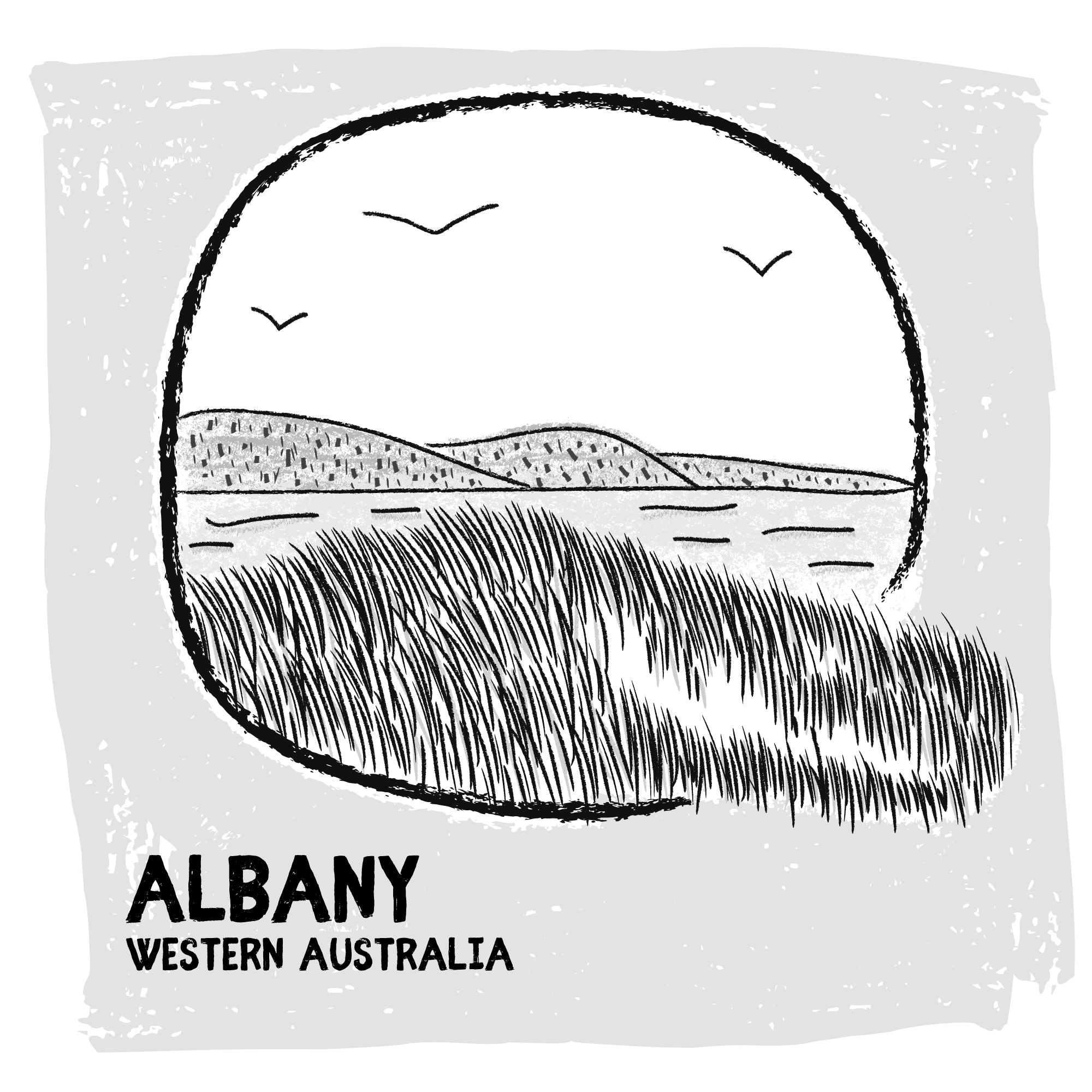 Albany, Australia digital travel sketch
