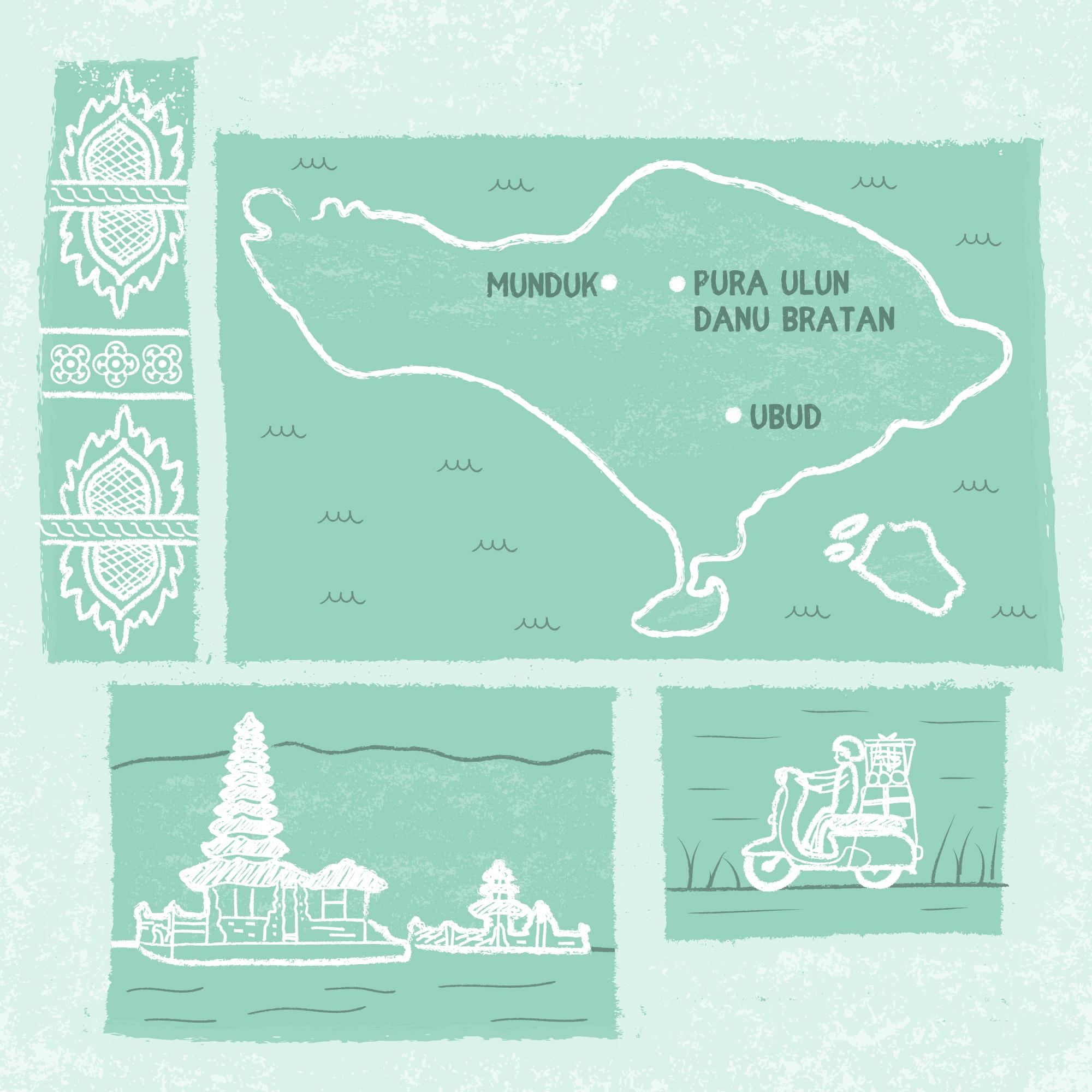 Bali travel illustration