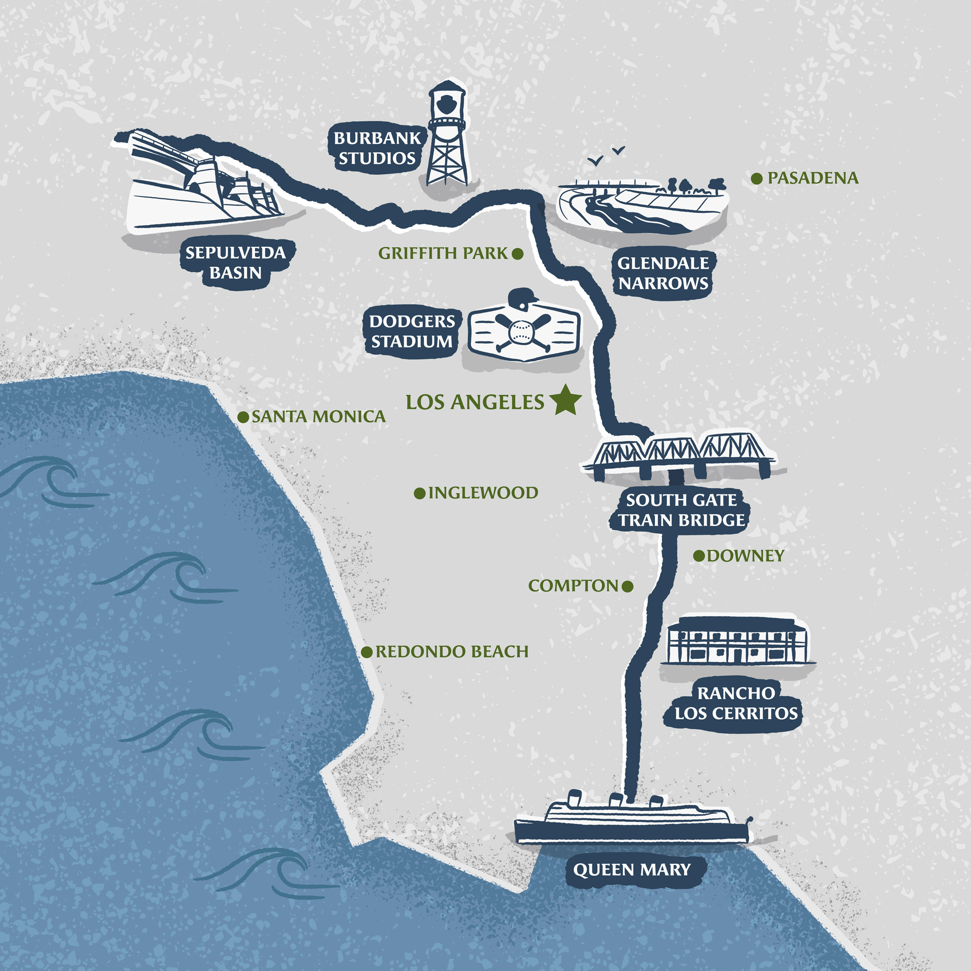 Los Angeles River Virtual Race itinerary map