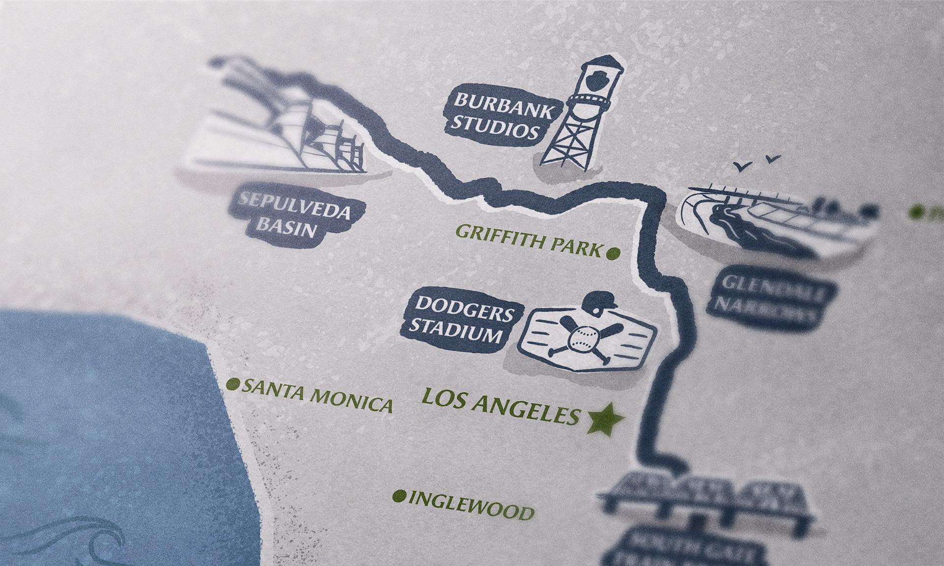 Close up of L.A. River map