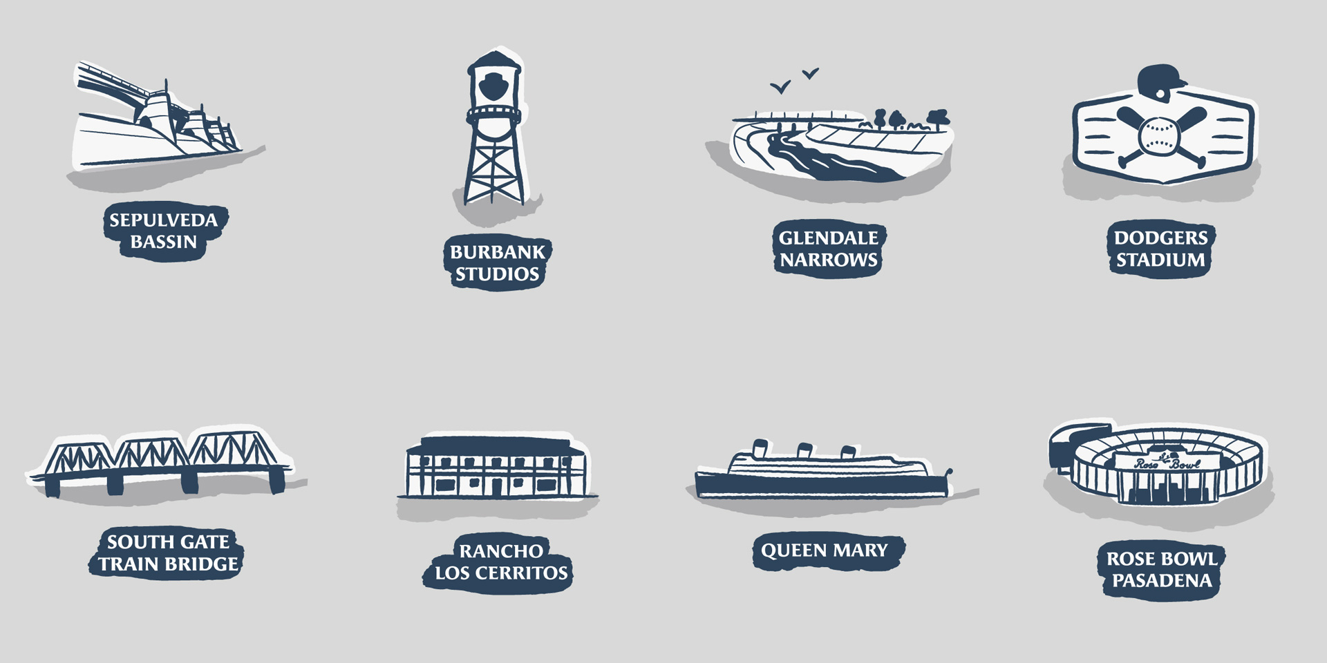 Icons created for the virtual race illustrated map of LA River