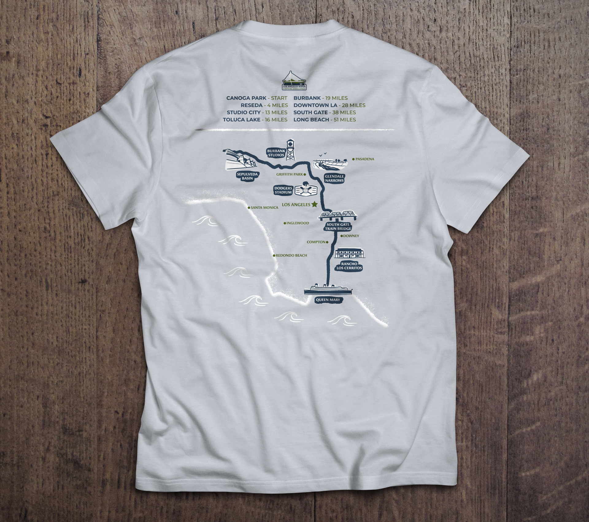 T-shirt with the Los Angeles River Virtual Challenge illustrated map