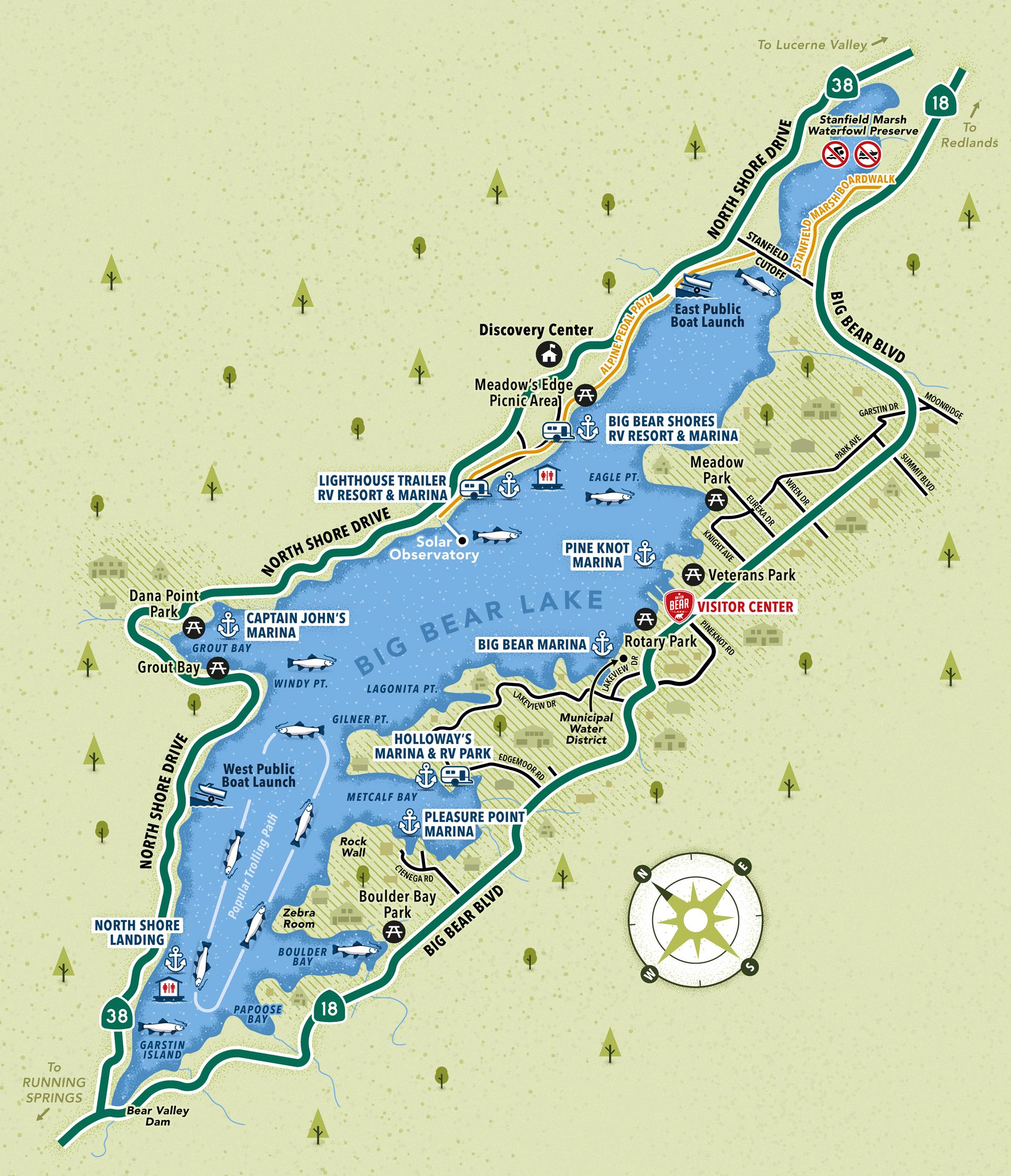 Big Bear Lake map of water activities and marinas
