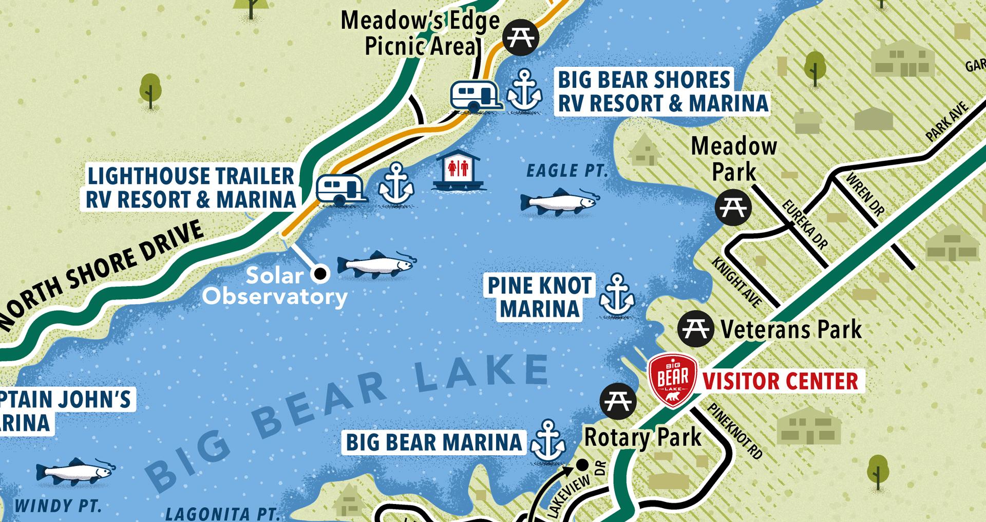 Water activities map close-up