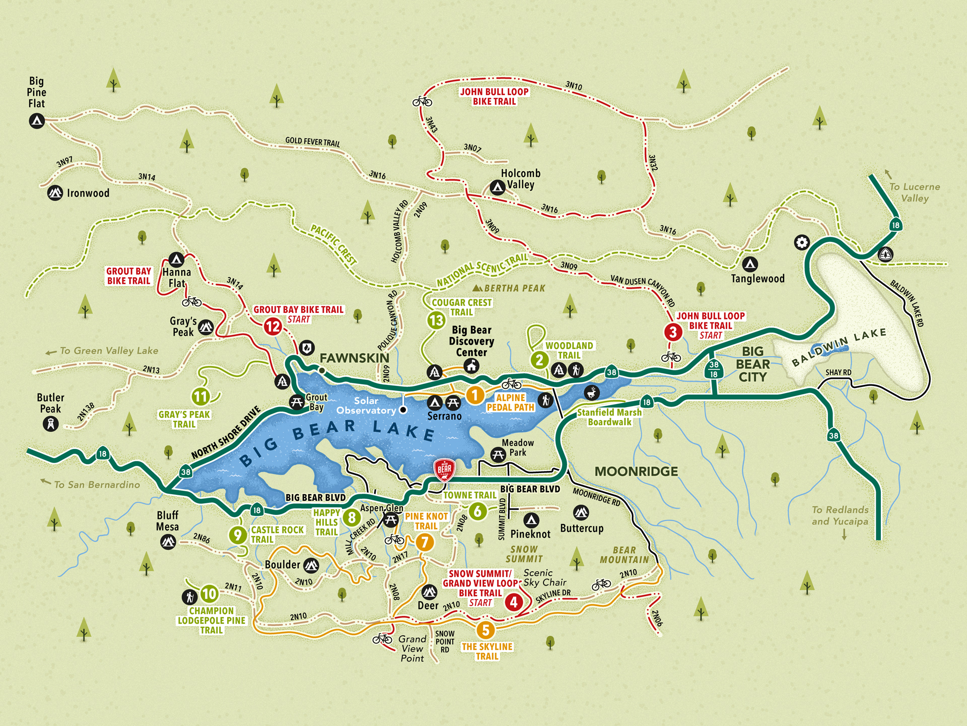 Big Bear Lake hiking and biking map