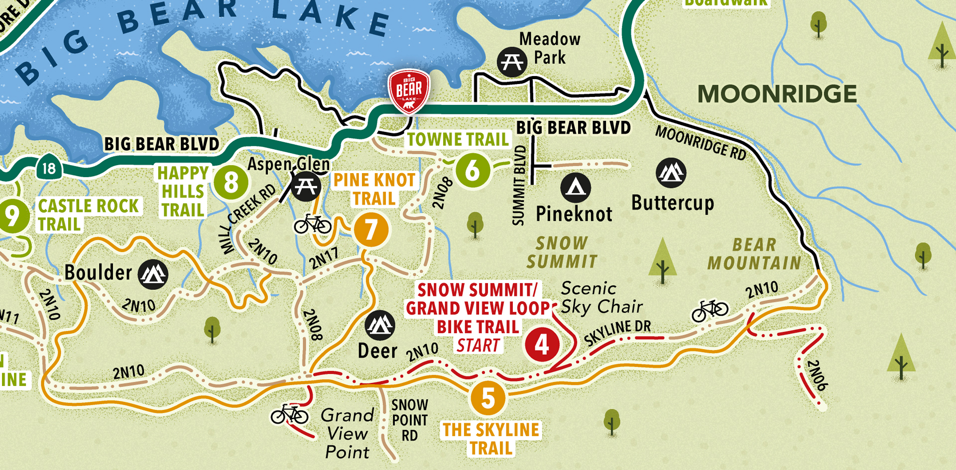 Hiking and biking map close-up