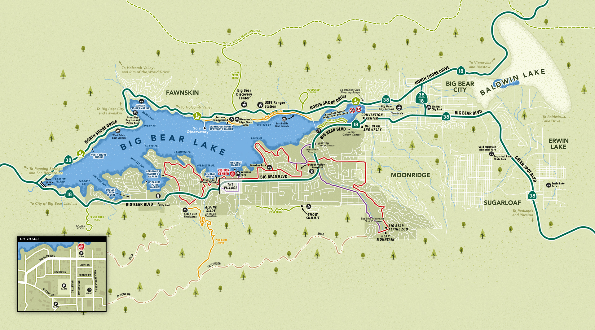 Big Bear Lake area map