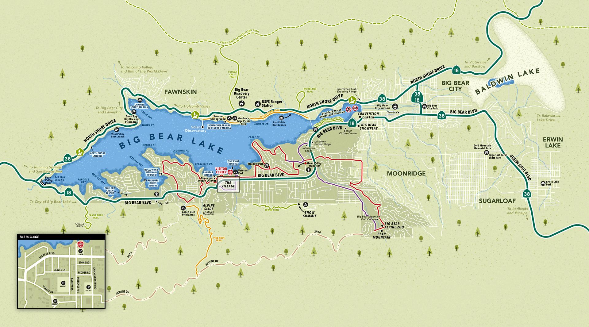 Big Bear Lake area map